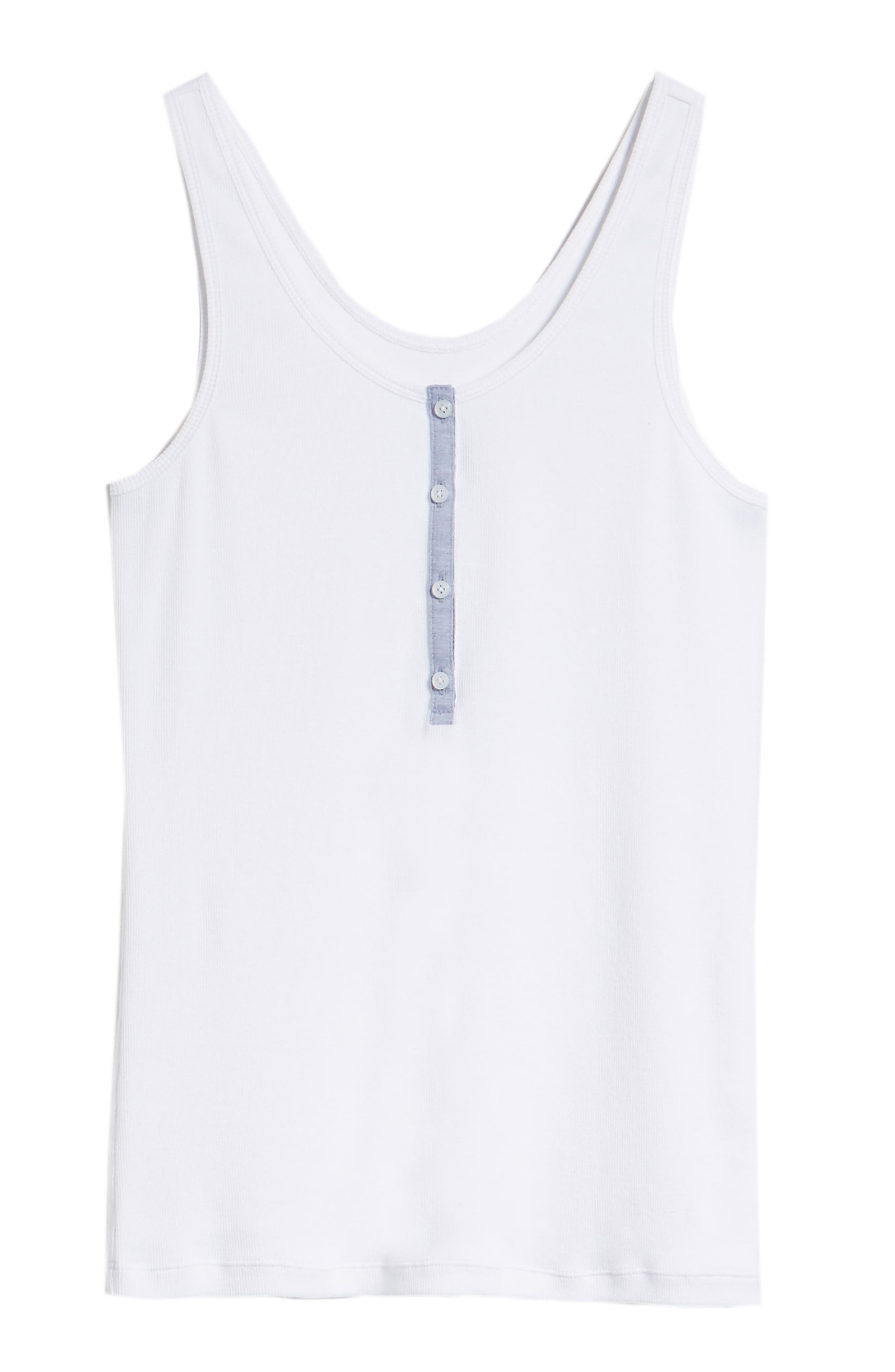 Ribbed Henley Cotton Blend Tank Top,                             Alternate thumbnail 6, color,                             100