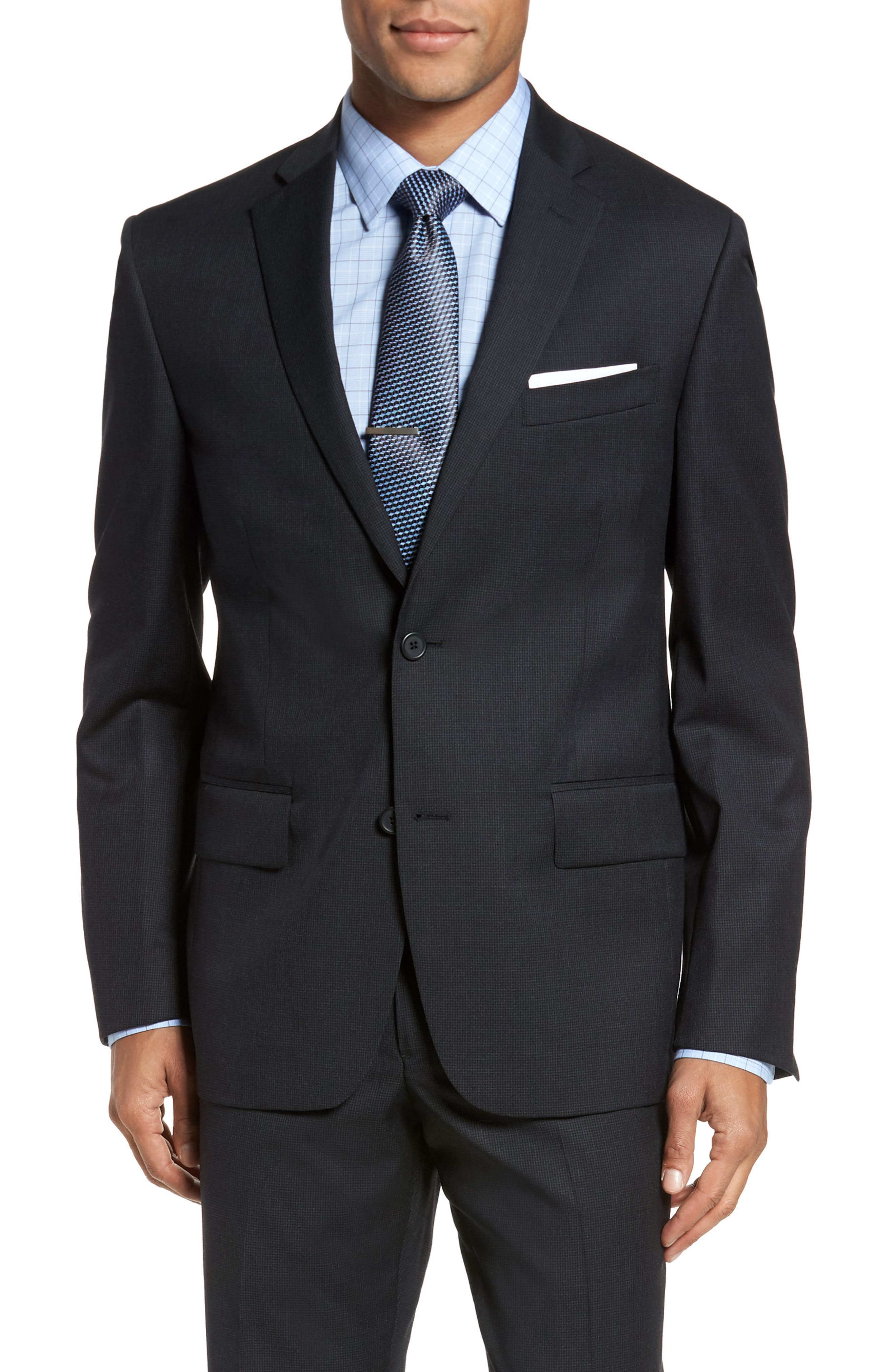 Classic Fit Check Wool Suit,                             Alternate thumbnail 5, color,                             001