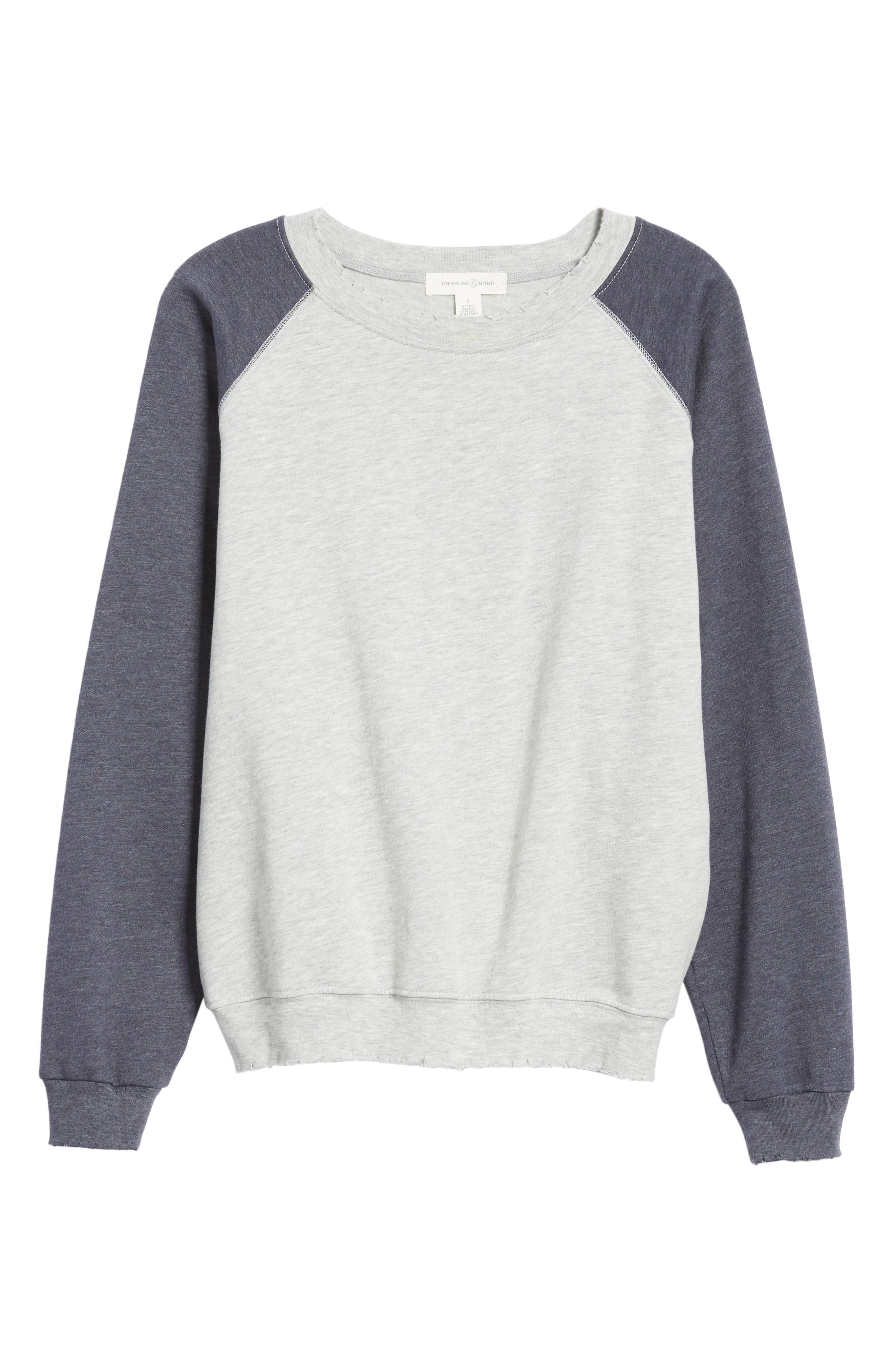 Raglan Sweatshirt,                             Alternate thumbnail 6, color,                             GREY HEATHER- NAVY COMBO