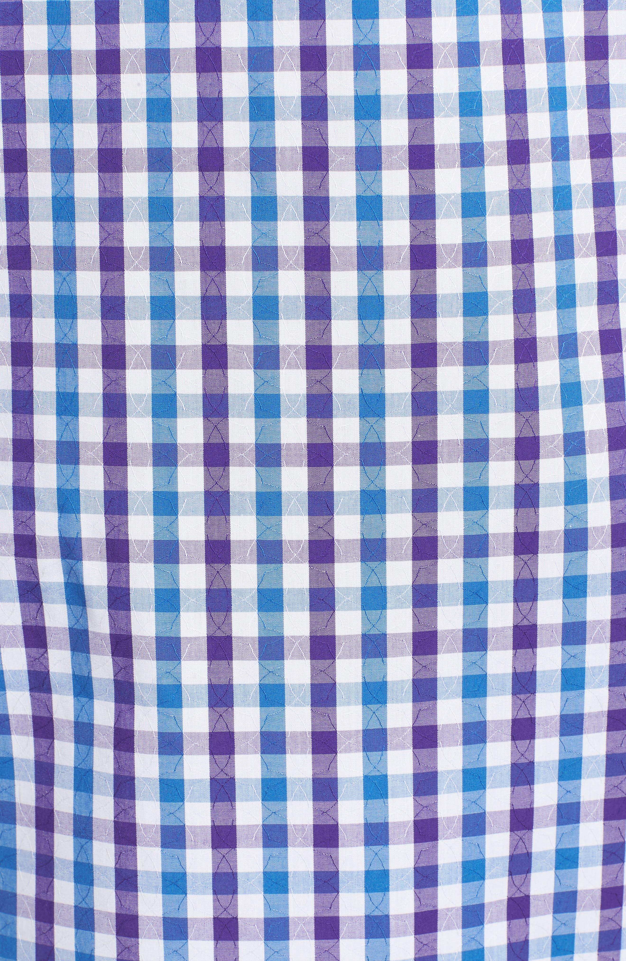 Classic Fit Jacquard Check Sport Shirt,                             Alternate thumbnail 5, color,