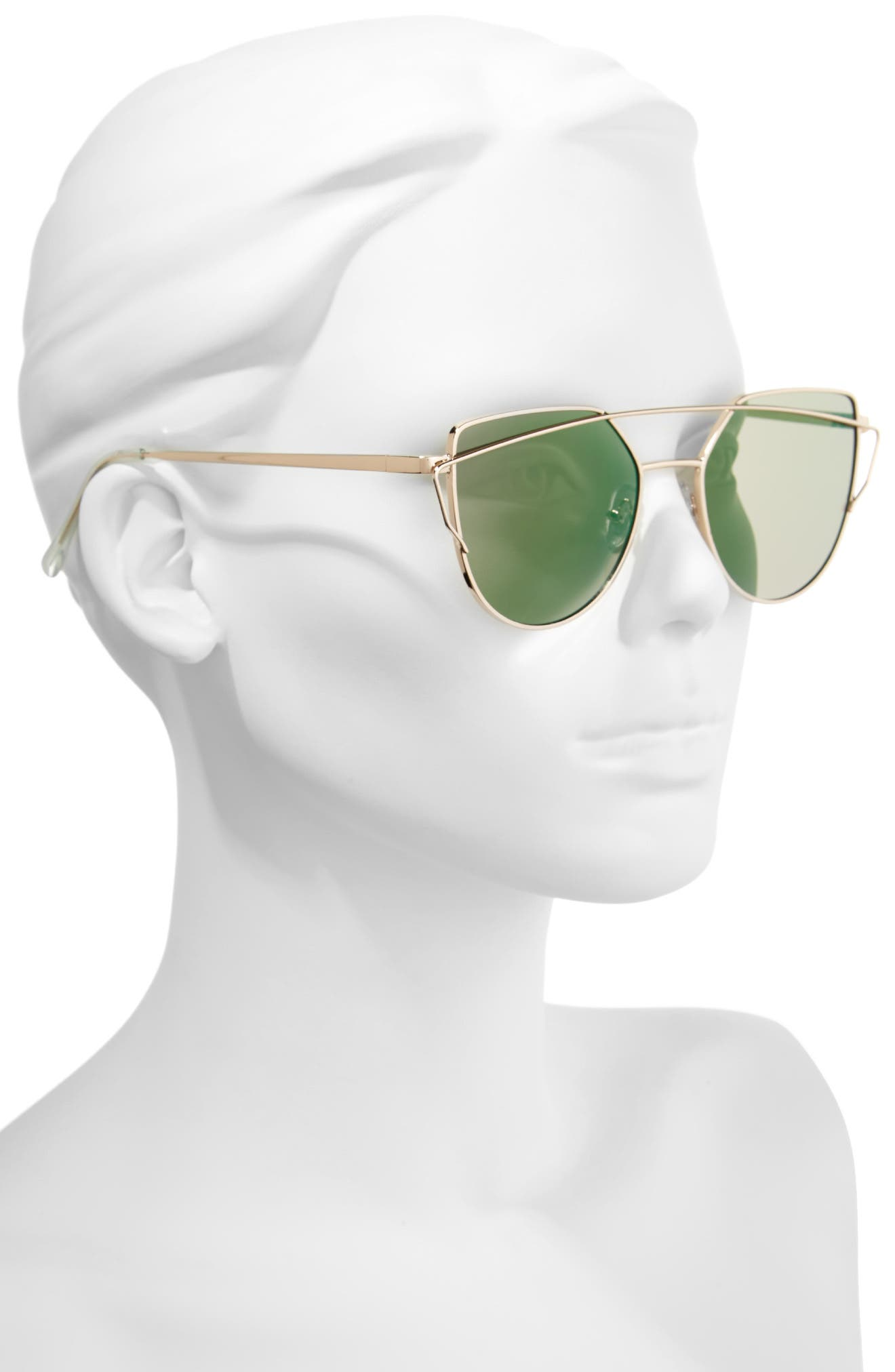 51mm Thin Brow Angular Aviator Sunglasses,                             Alternate thumbnail 16, color,