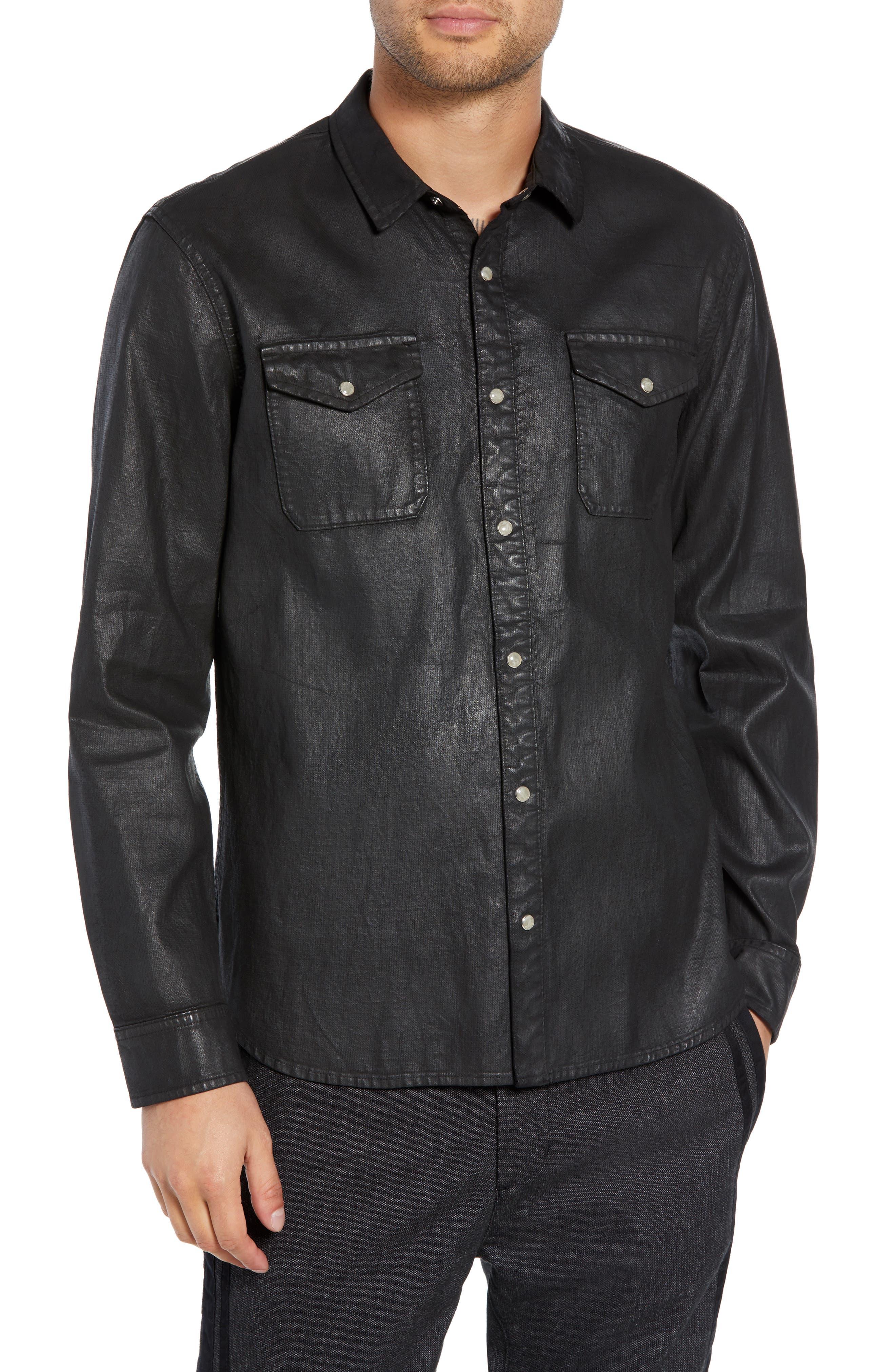 Men's John Varvatos Star Usa Coated Denim Shirt, Size Small - Black