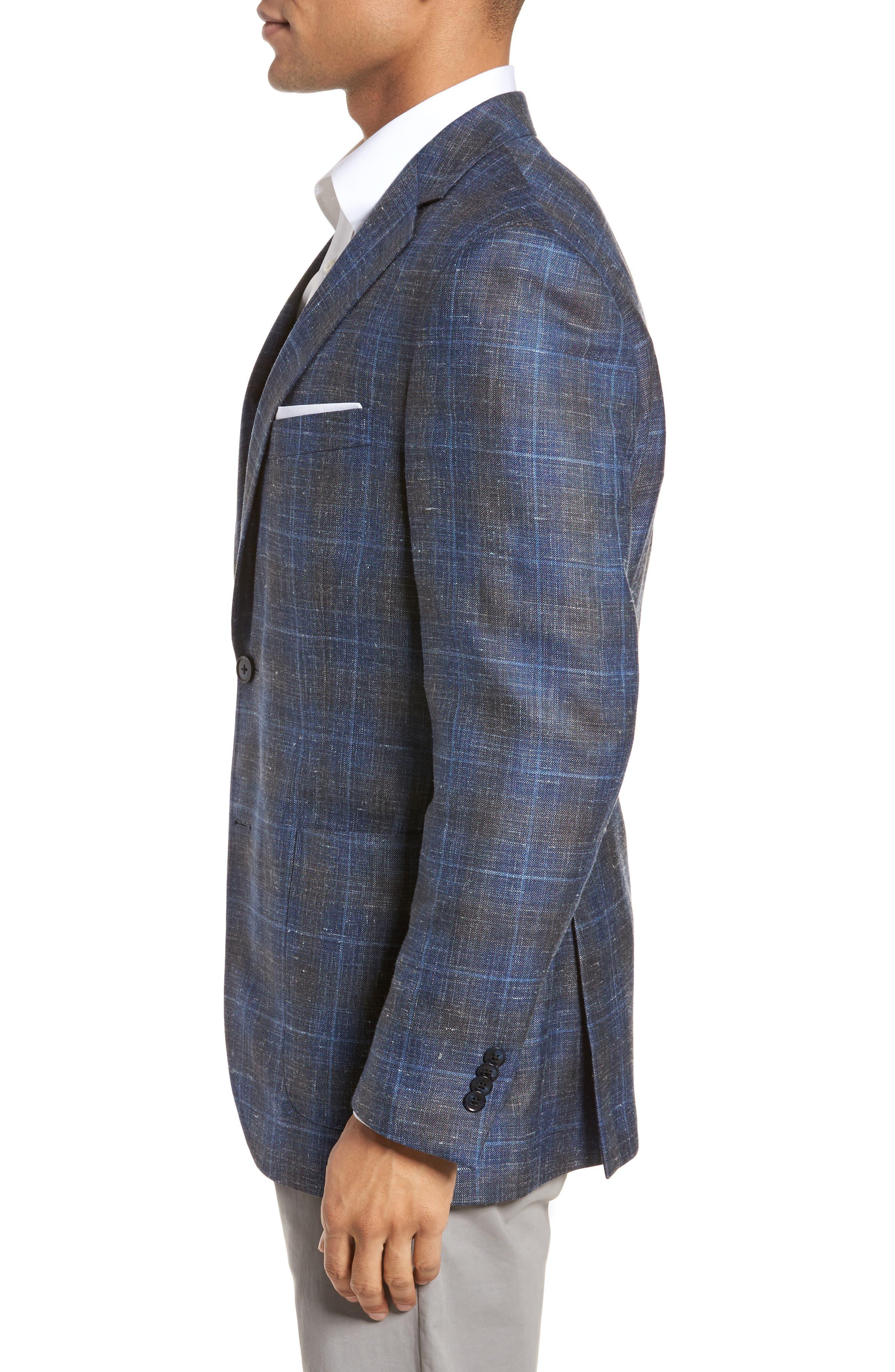 Classic Fit Plaid Wool Blend Sport Coat,                             Alternate thumbnail 3, color,                             400