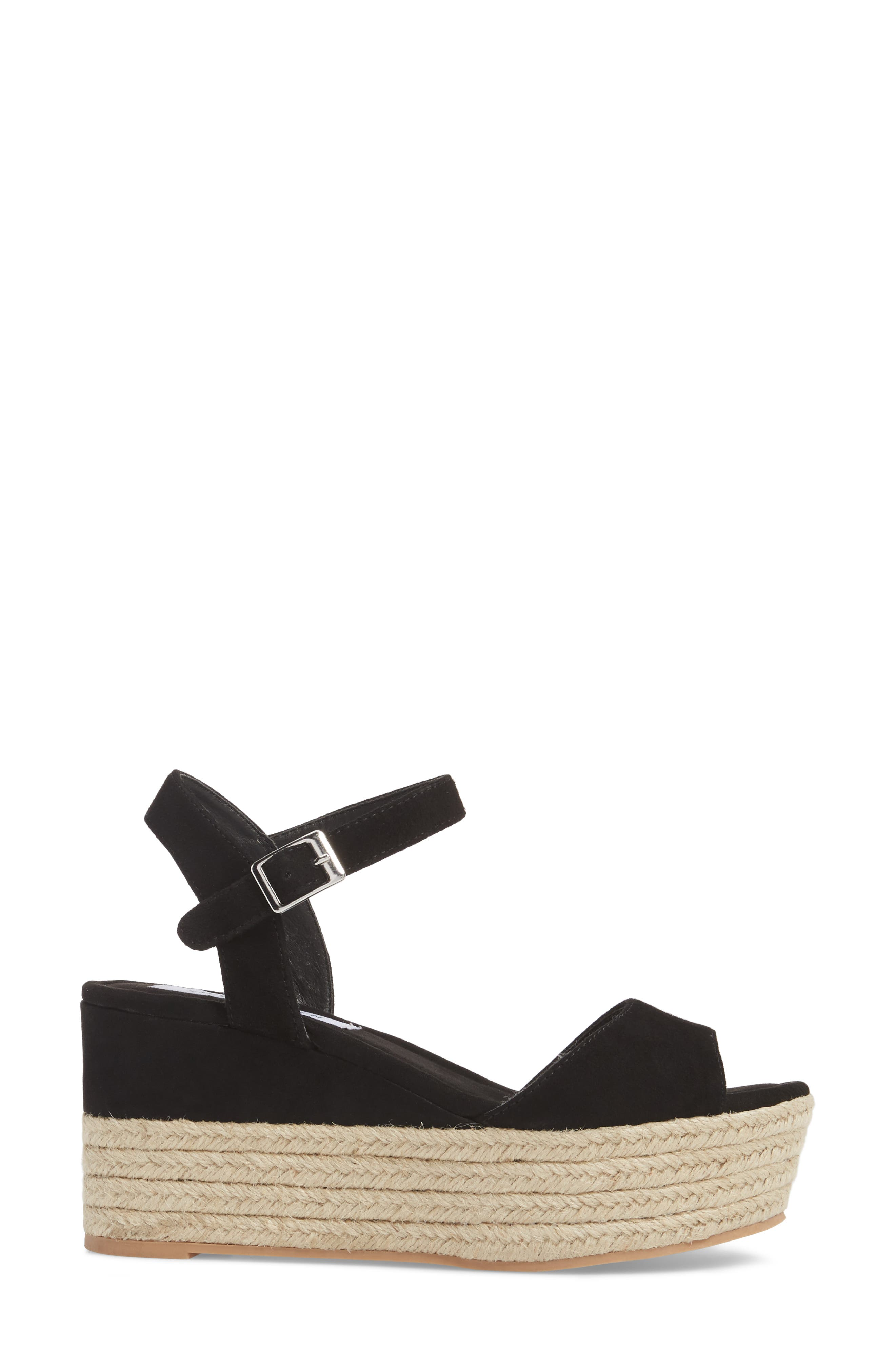 Kianna Espadrille Wedge Sandal,                             Alternate thumbnail 3, color,                             BLACK SUEDE