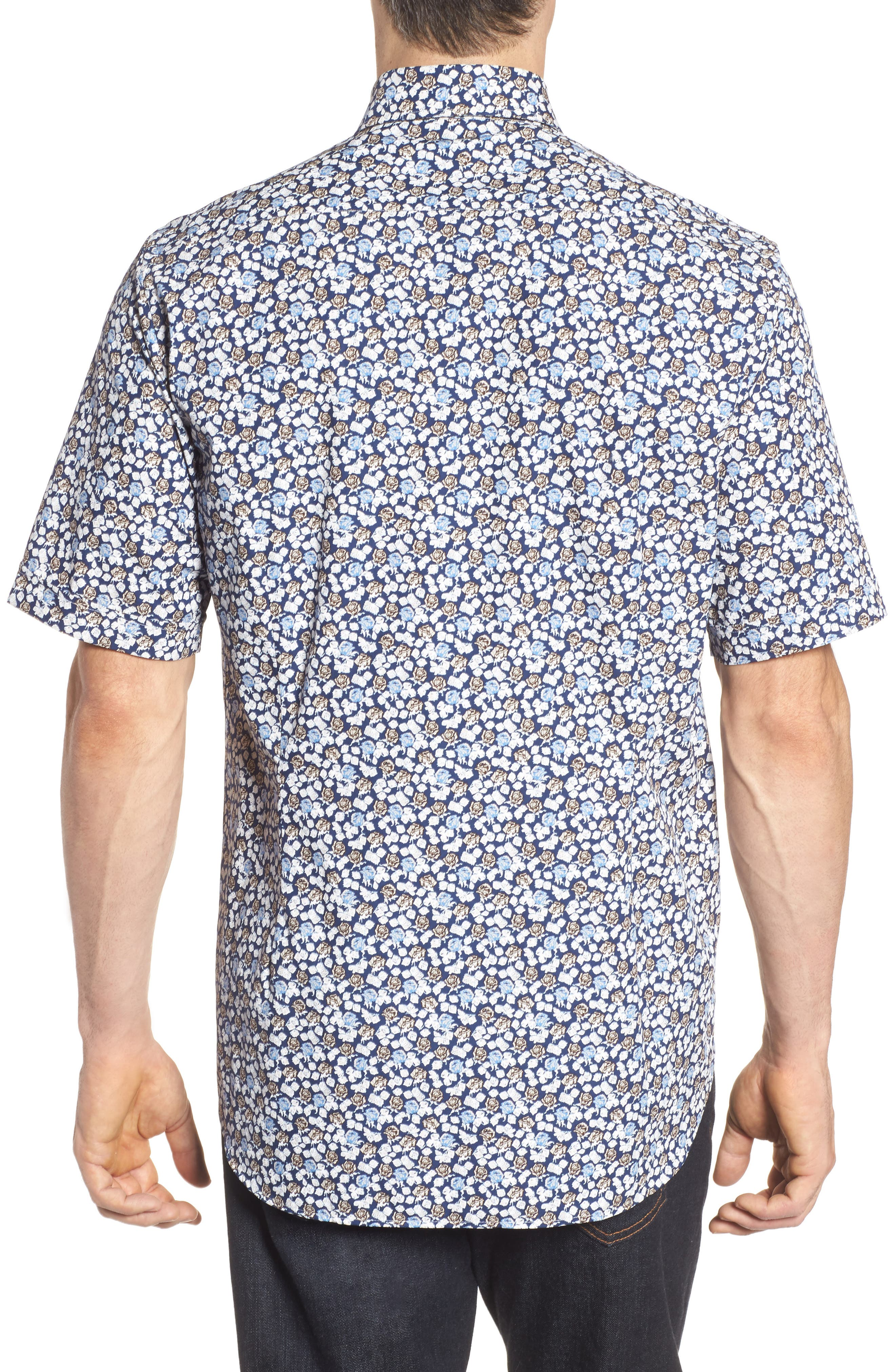 Paul&Shark Regular Fit Floral Sport Shirt,                             Alternate thumbnail 2, color,