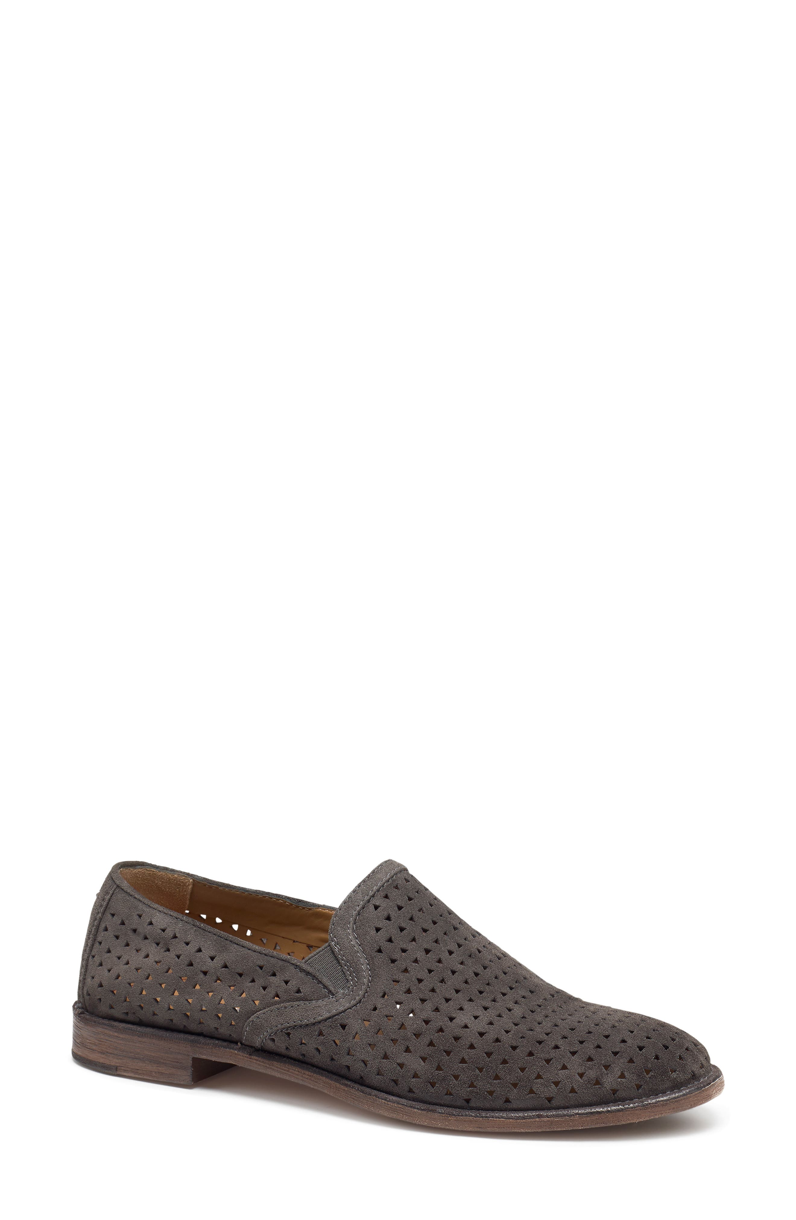 Ali Perforated Loafer,                             Main thumbnail 1, color,                             GREY SUEDE