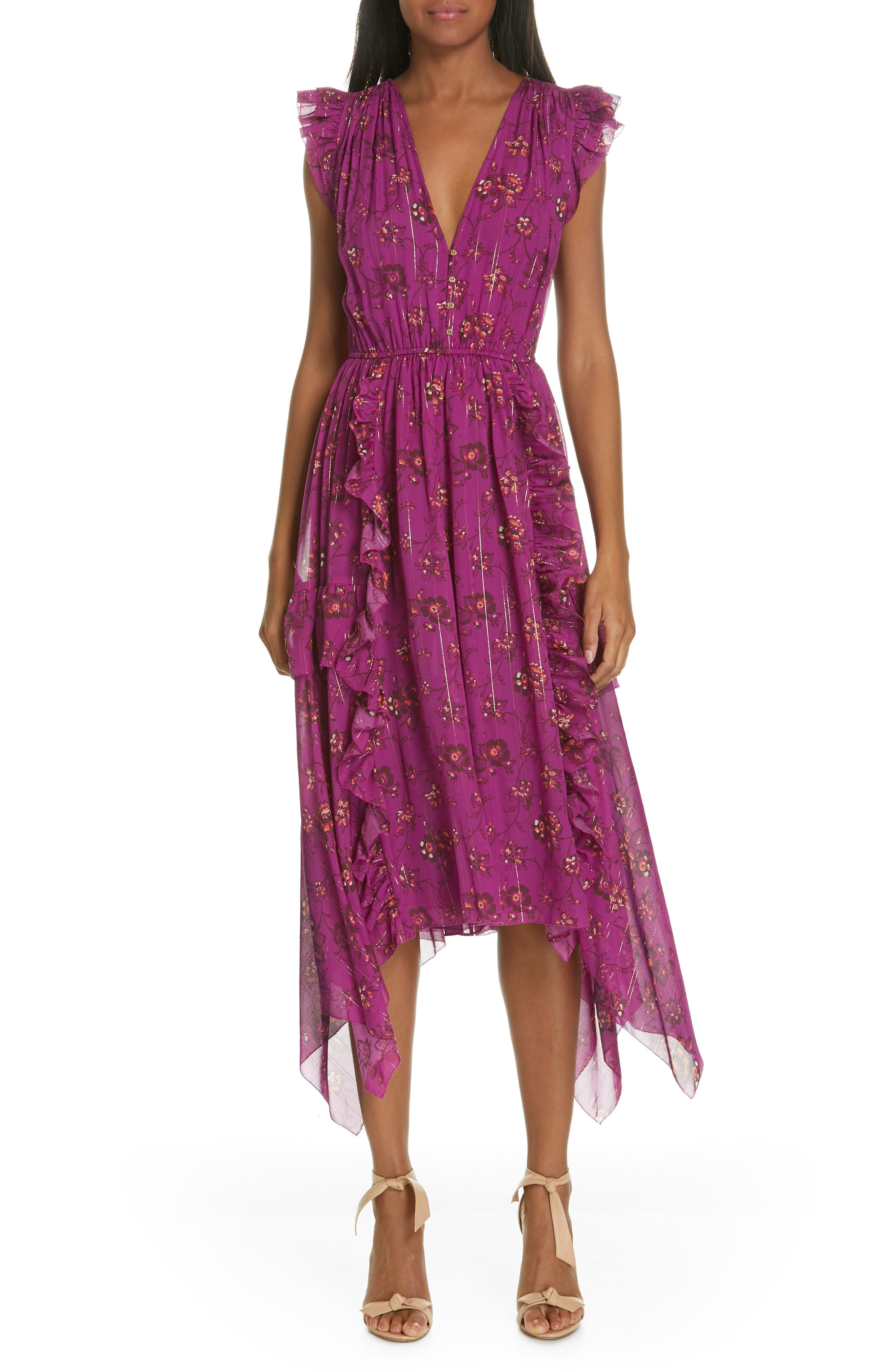 Ciel Floral Print Silk Blend Dress, Main, color, MAGENTA