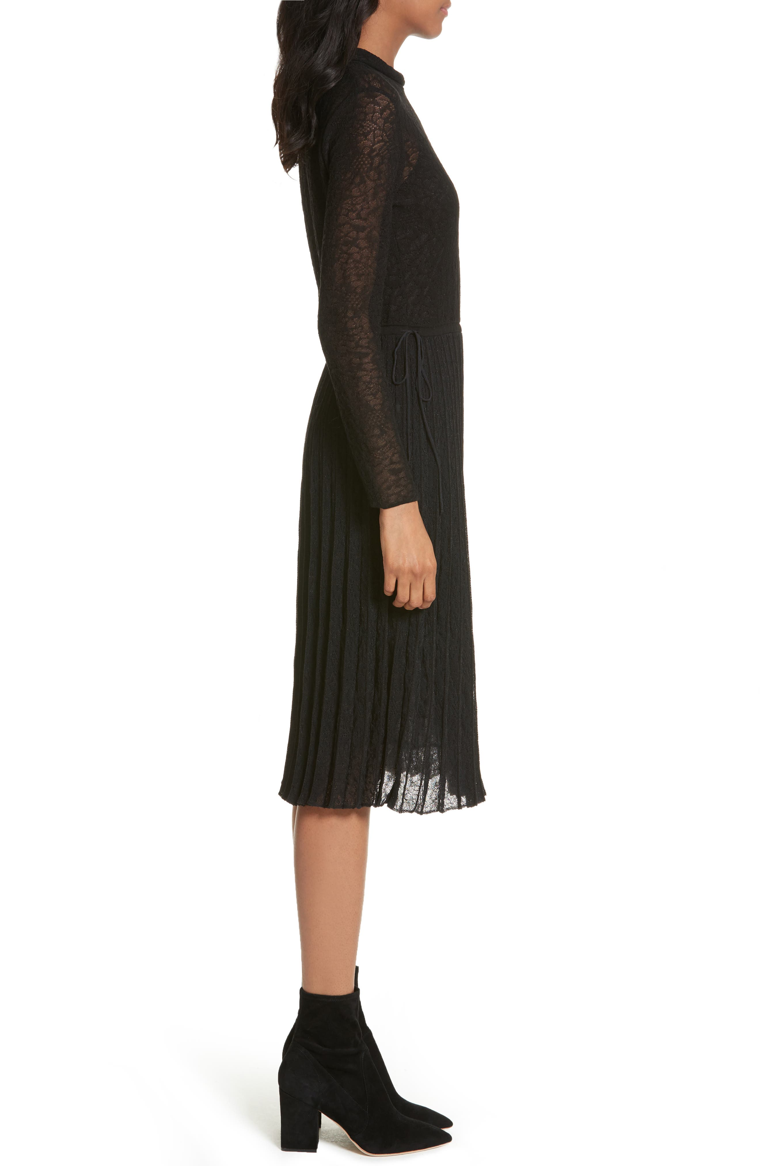 Lace Plissé Pleated Midi Dress,                             Alternate thumbnail 3, color,                             001