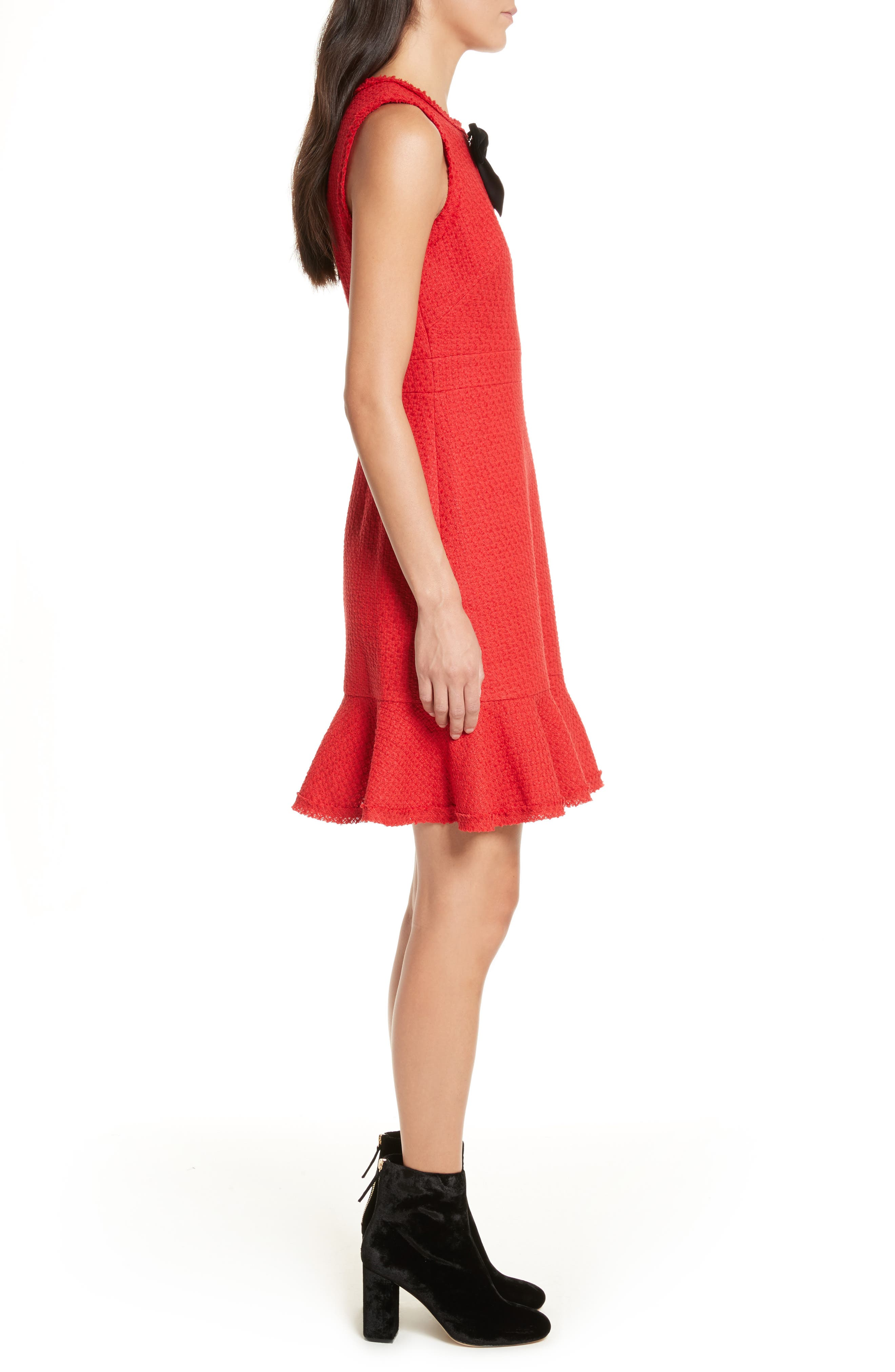 ruffle hem tweed dress,                             Alternate thumbnail 3, color,