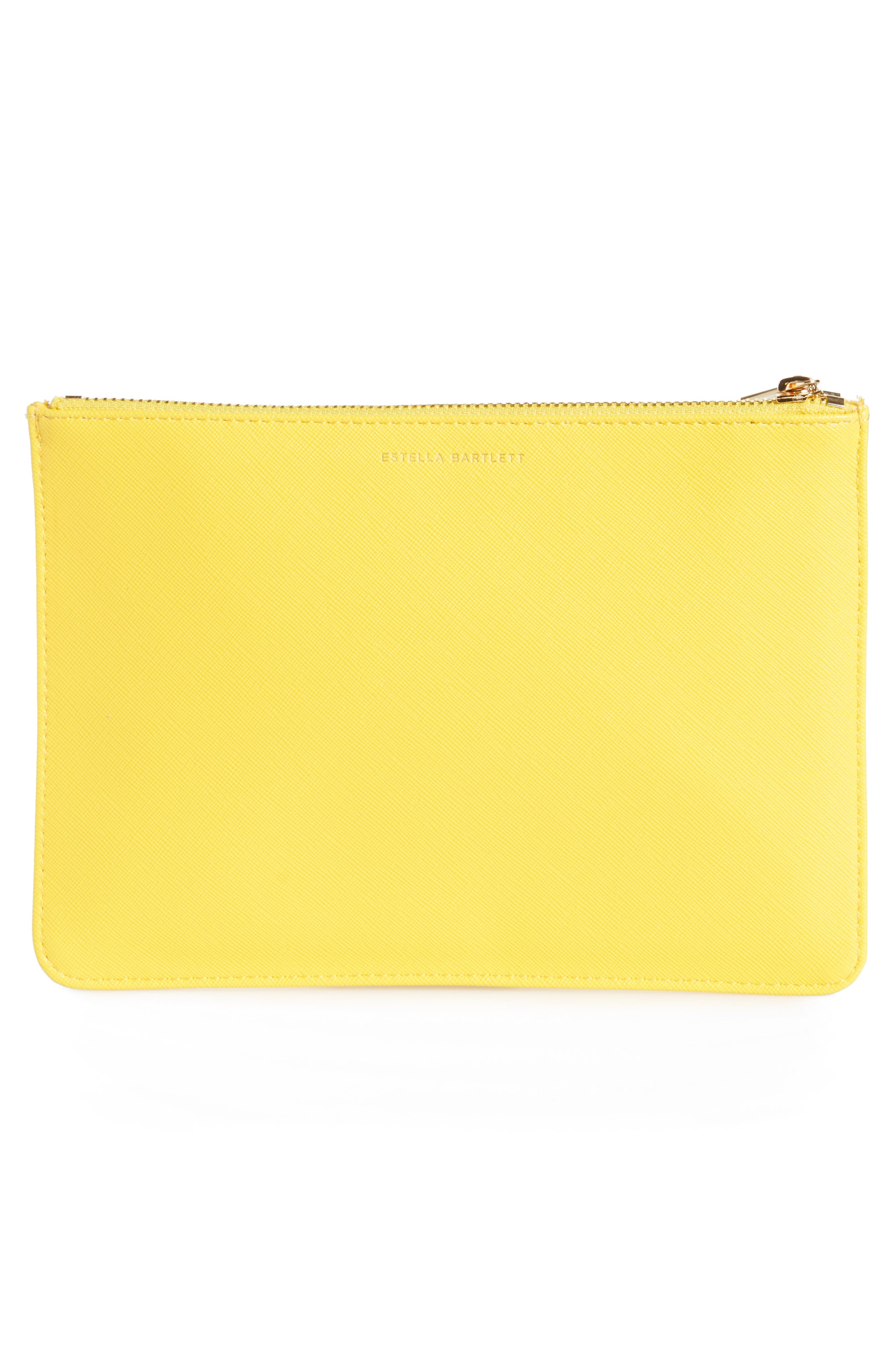 Happy Thoughts Medium Faux Leather Pouch,                             Alternate thumbnail 3, color,                             700