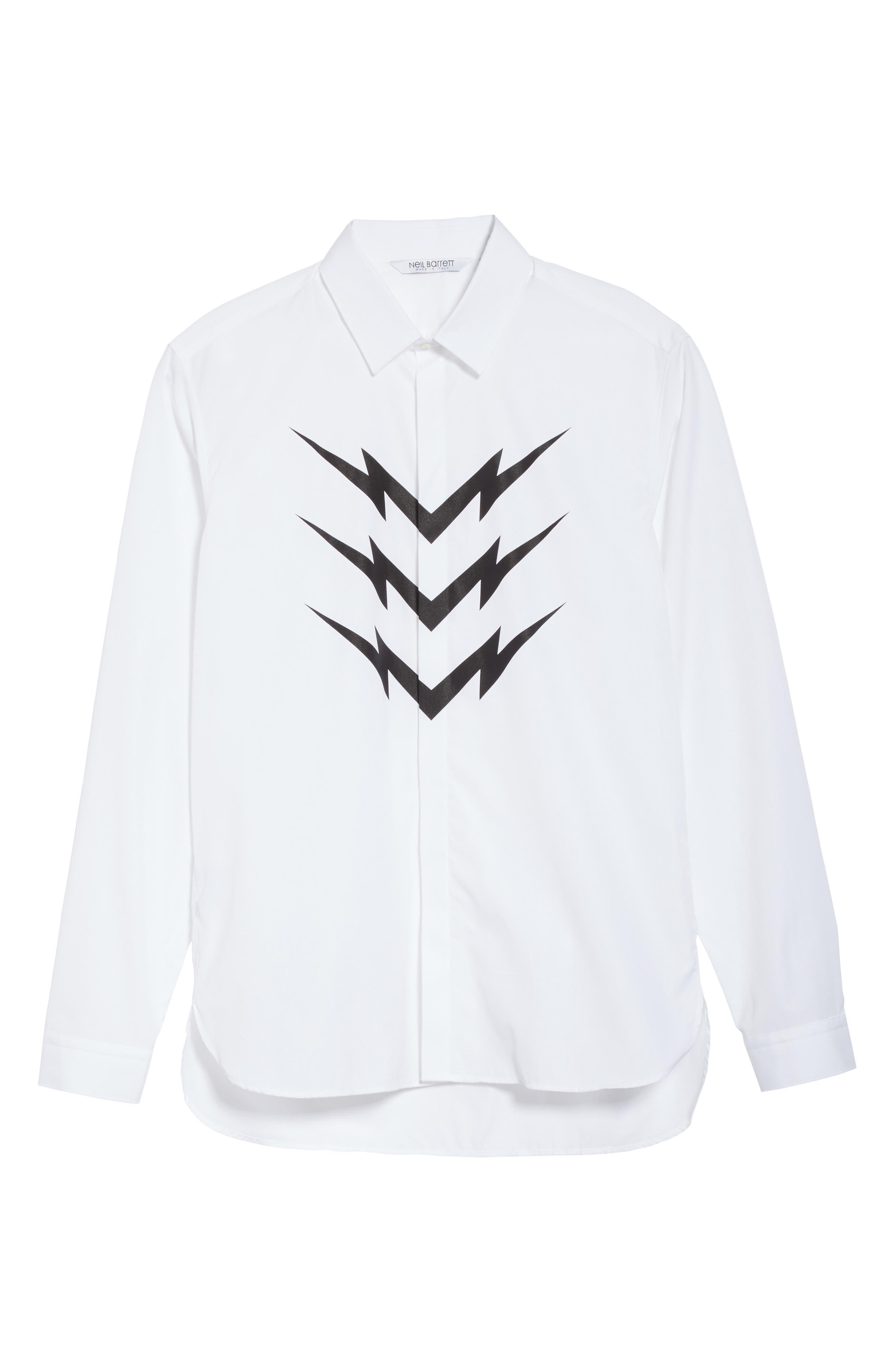 Lightning Bolt Print Sport Shirt,                             Alternate thumbnail 6, color,                             100
