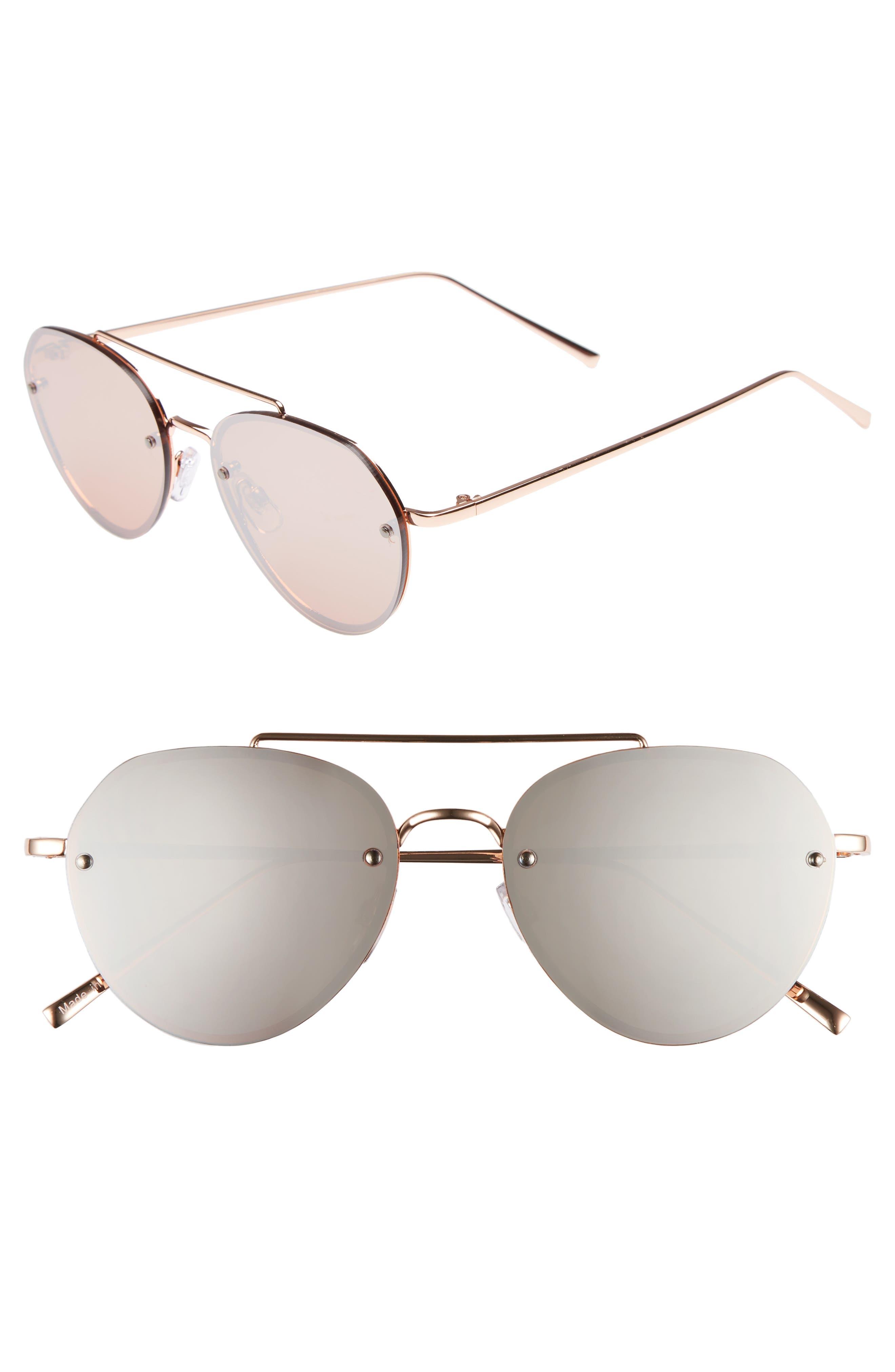 Gradient Petite Aviator Sunglasses,                             Main thumbnail 1, color,                             ROSE / GOLD