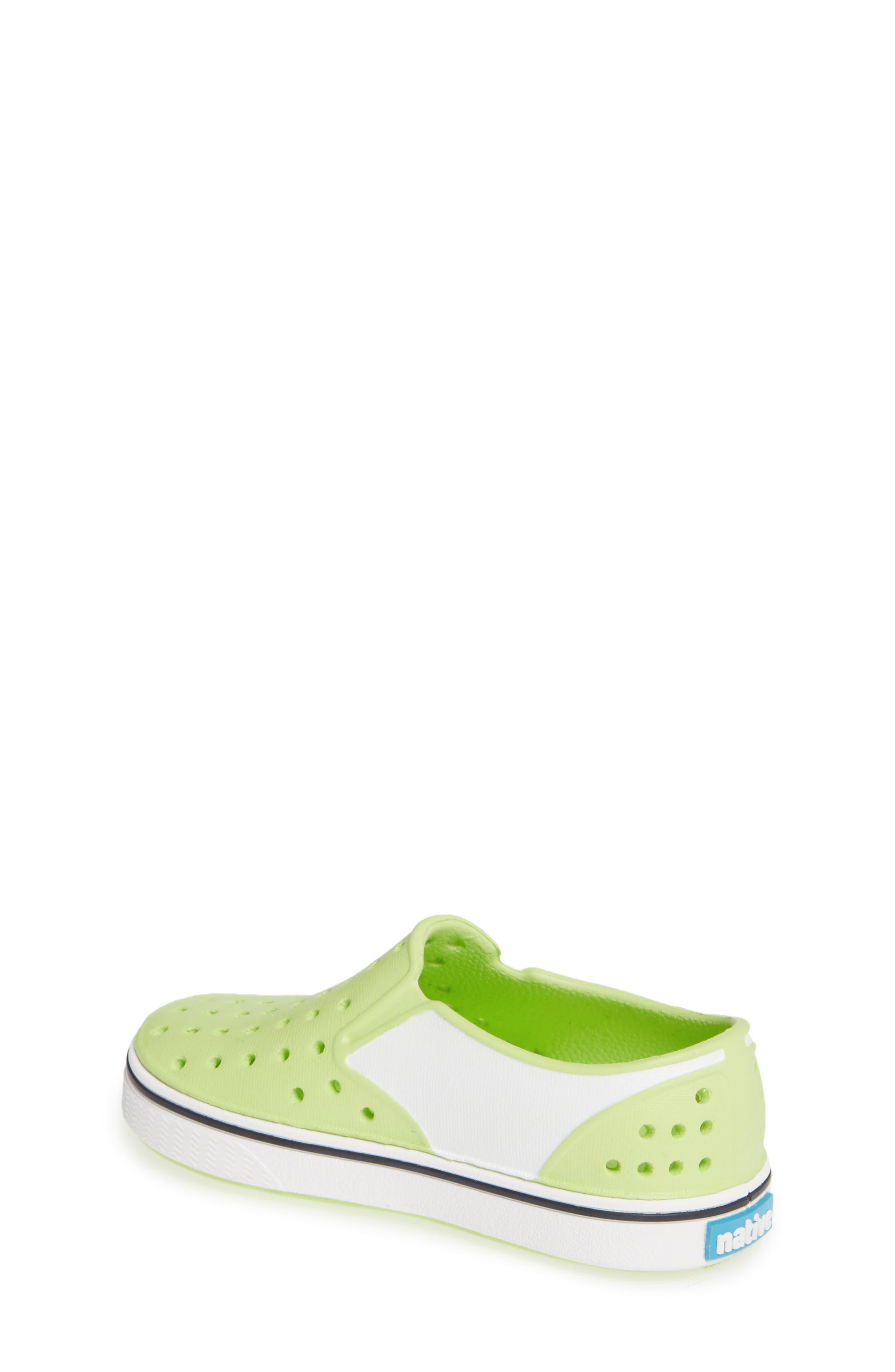 Miles Colorblock Slip-On Sneaker,                             Alternate thumbnail 2, color,                             SUNNY GREEN/ SHELL WHITE