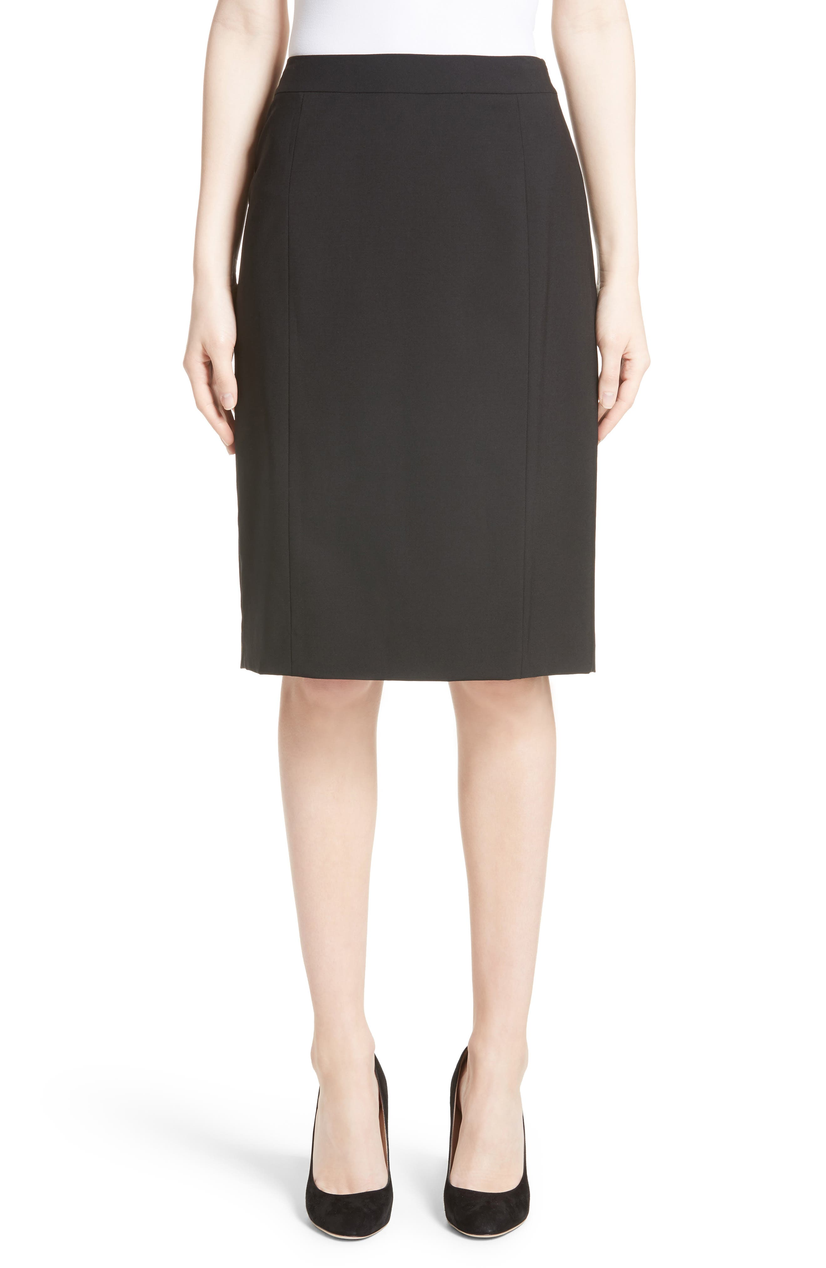 Stretch Wool Pencil Skirt,                             Alternate thumbnail 2, color,                             BLACK