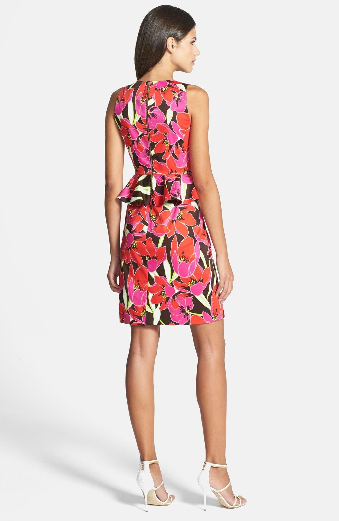 KATE SPADE NEW YORK,                             tropical print peplum sheath dress,                             Alternate thumbnail 2, color,                             650