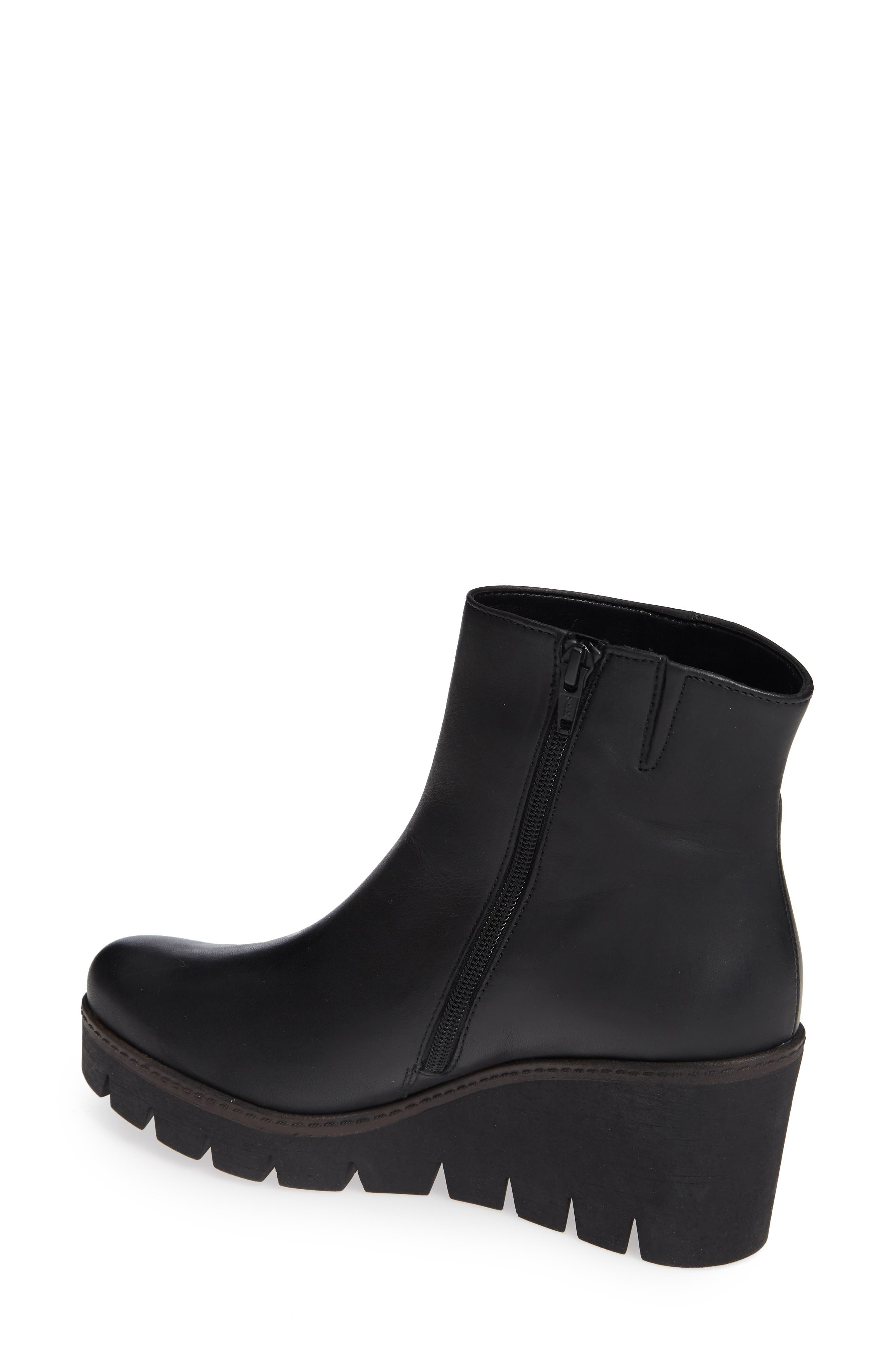Friendly Wedge Bootie,                             Alternate thumbnail 2, color,                             BLACK LEATHER