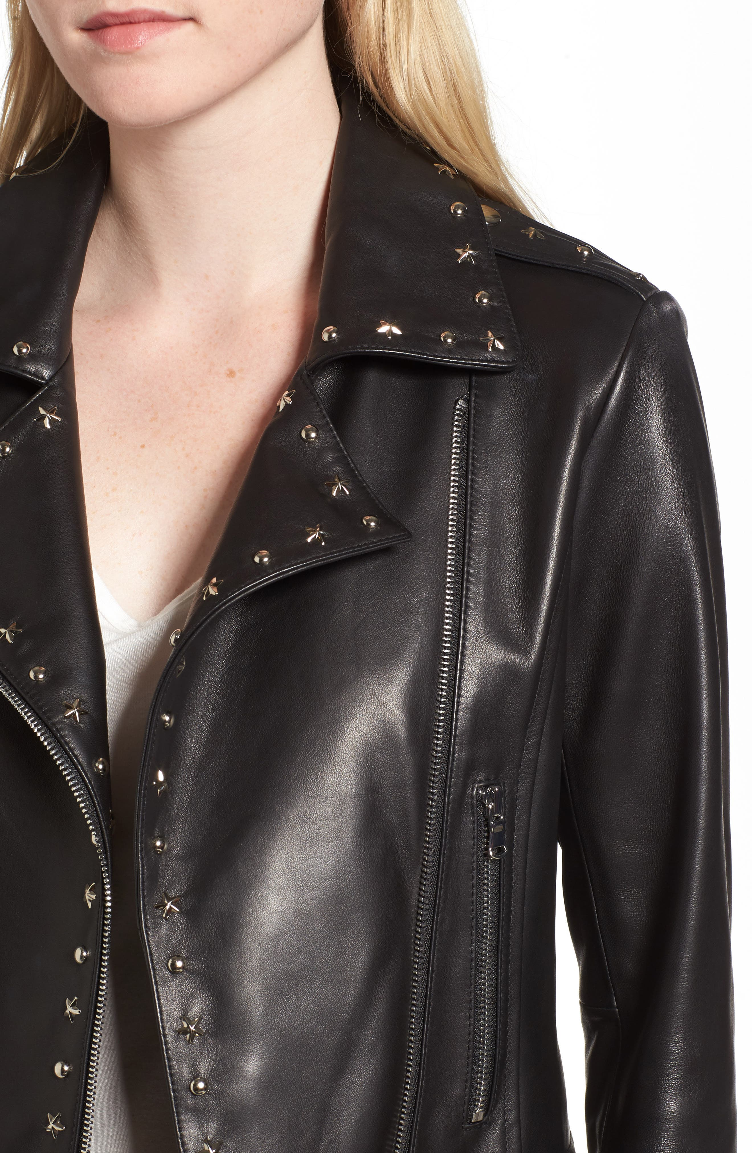 Easton Studded Leather Moto Jacket,                             Alternate thumbnail 4, color,                             BLACK