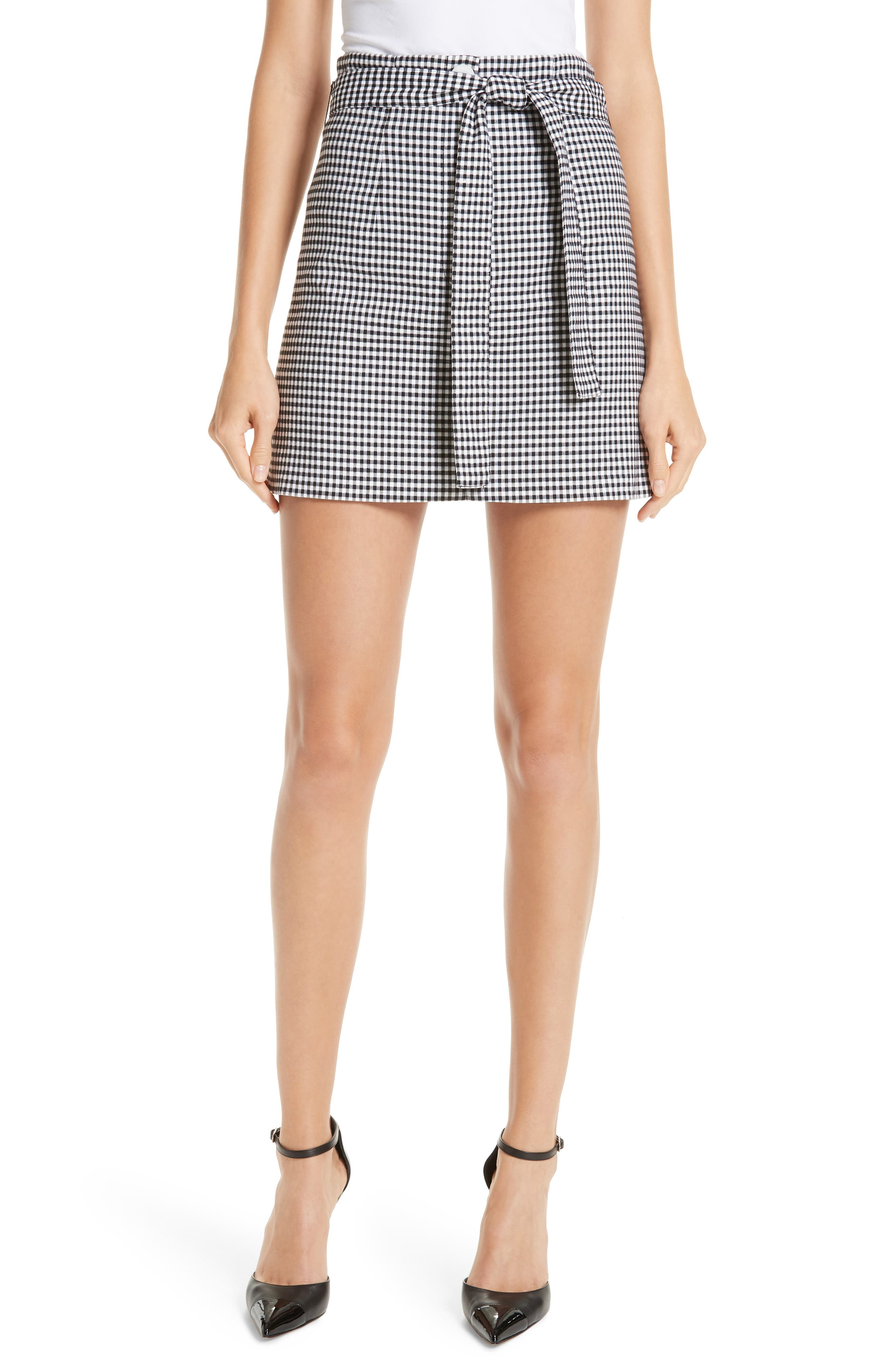 ROBERT RODRIGUEZ Lexy Mini Check A-Line Skirt in Black/ White