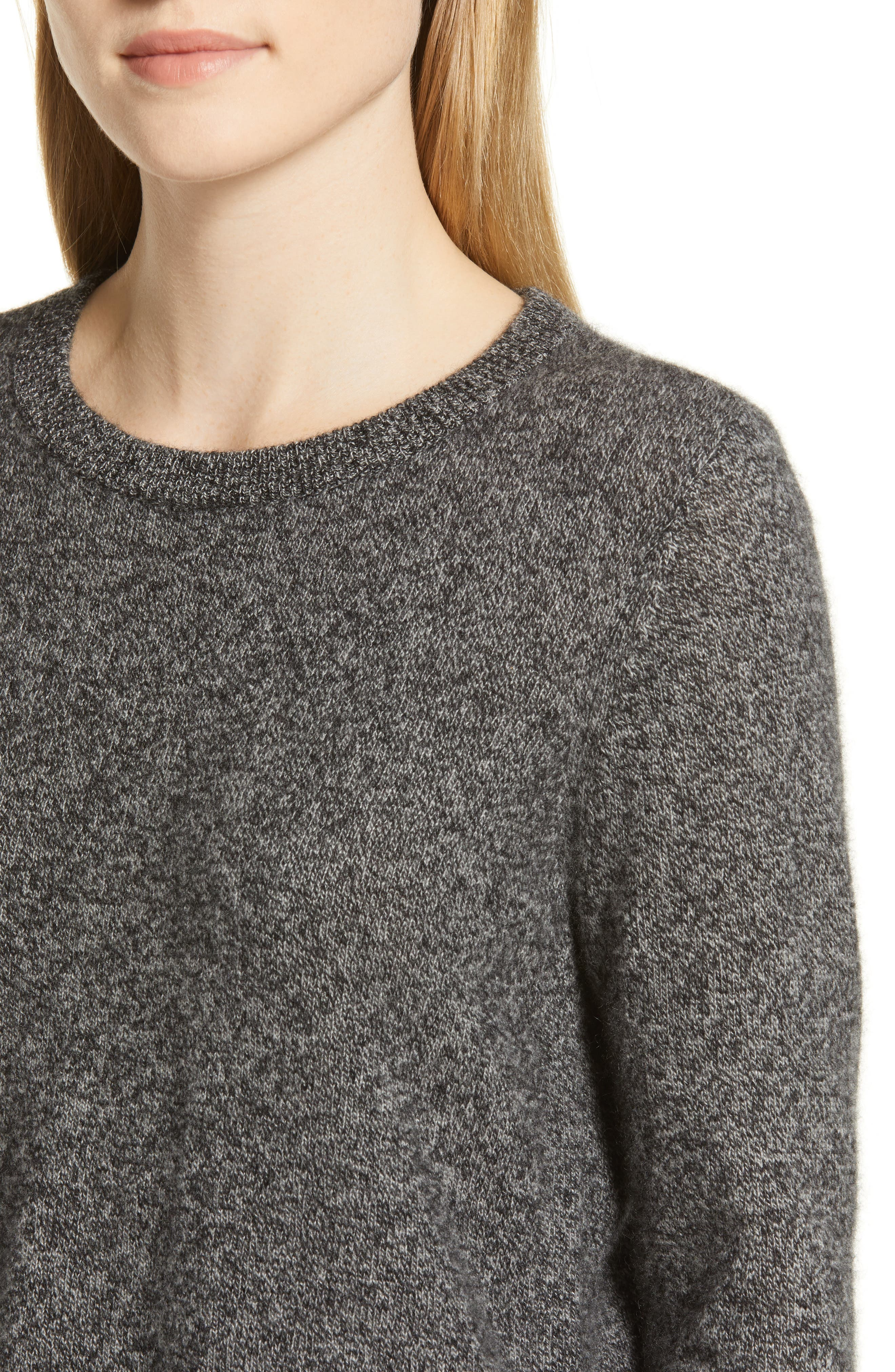Crewneck Cashmere Sweater,                             Alternate thumbnail 4, color,                             BLACK- GREY MARL