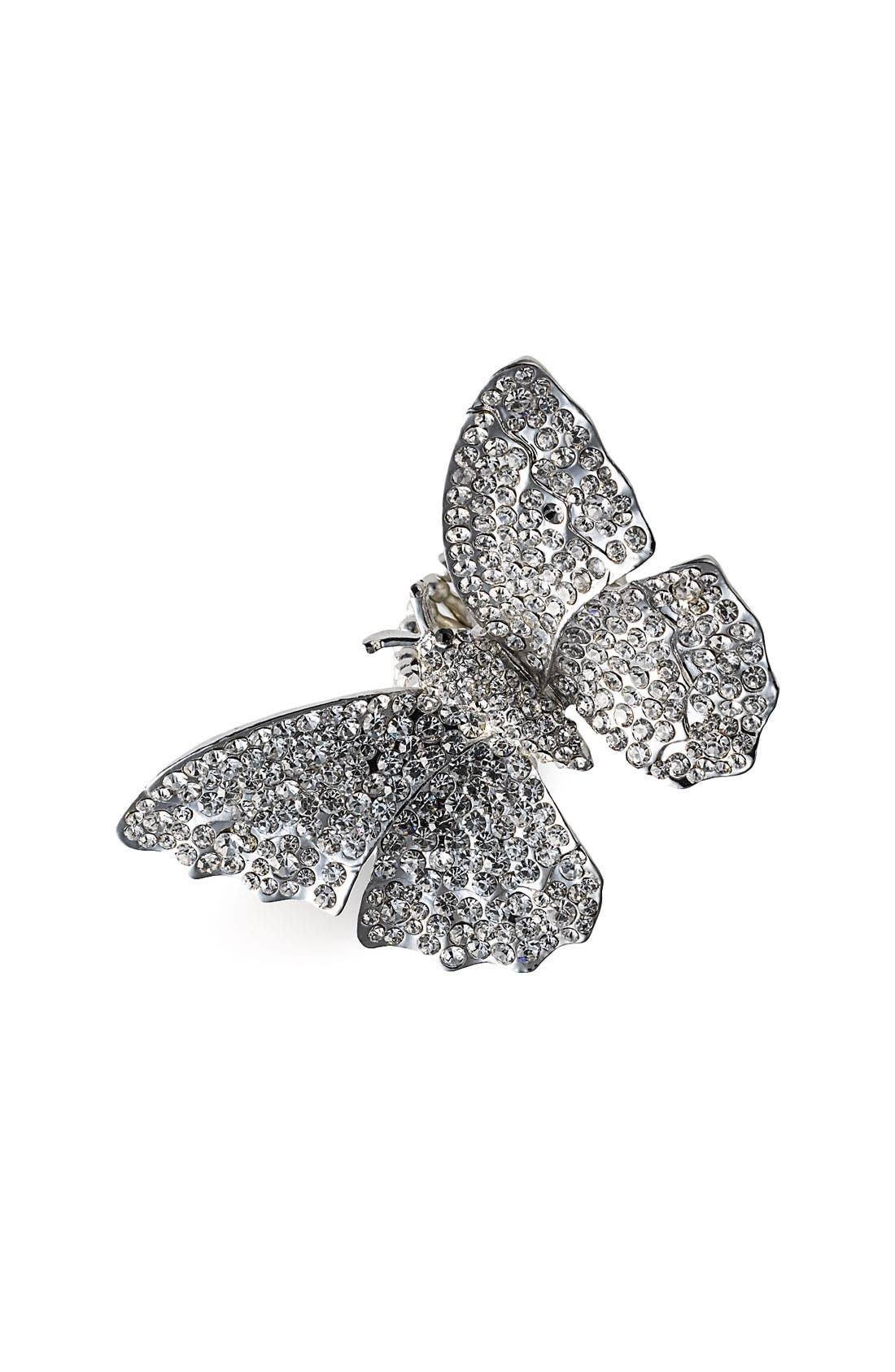 Accessories 'Critters' Butterfly Crystal Stretch Ring,                             Main thumbnail 1, color,                             040
