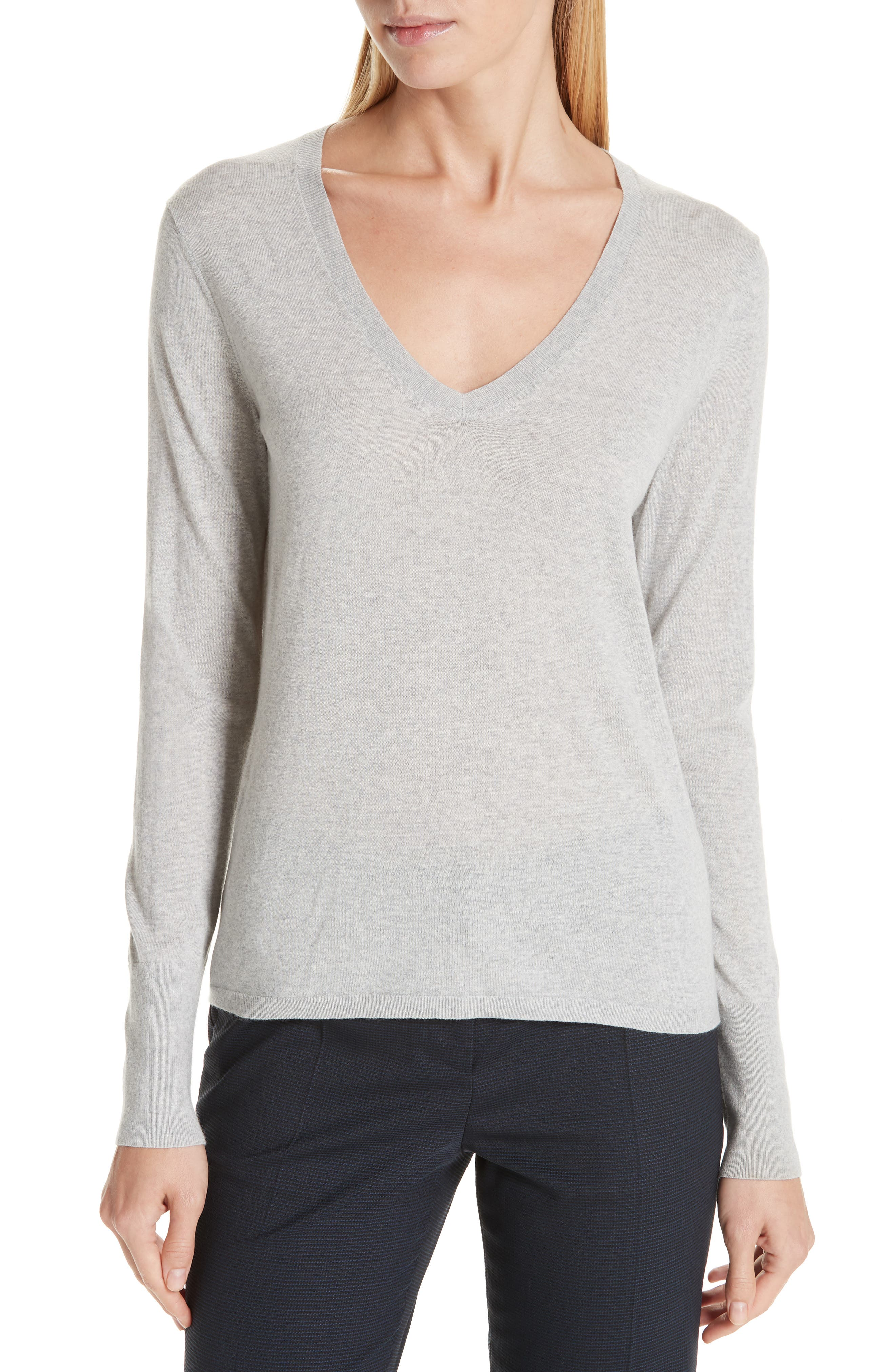 Boss Flumia V-Neck Wool Sweater, Grey