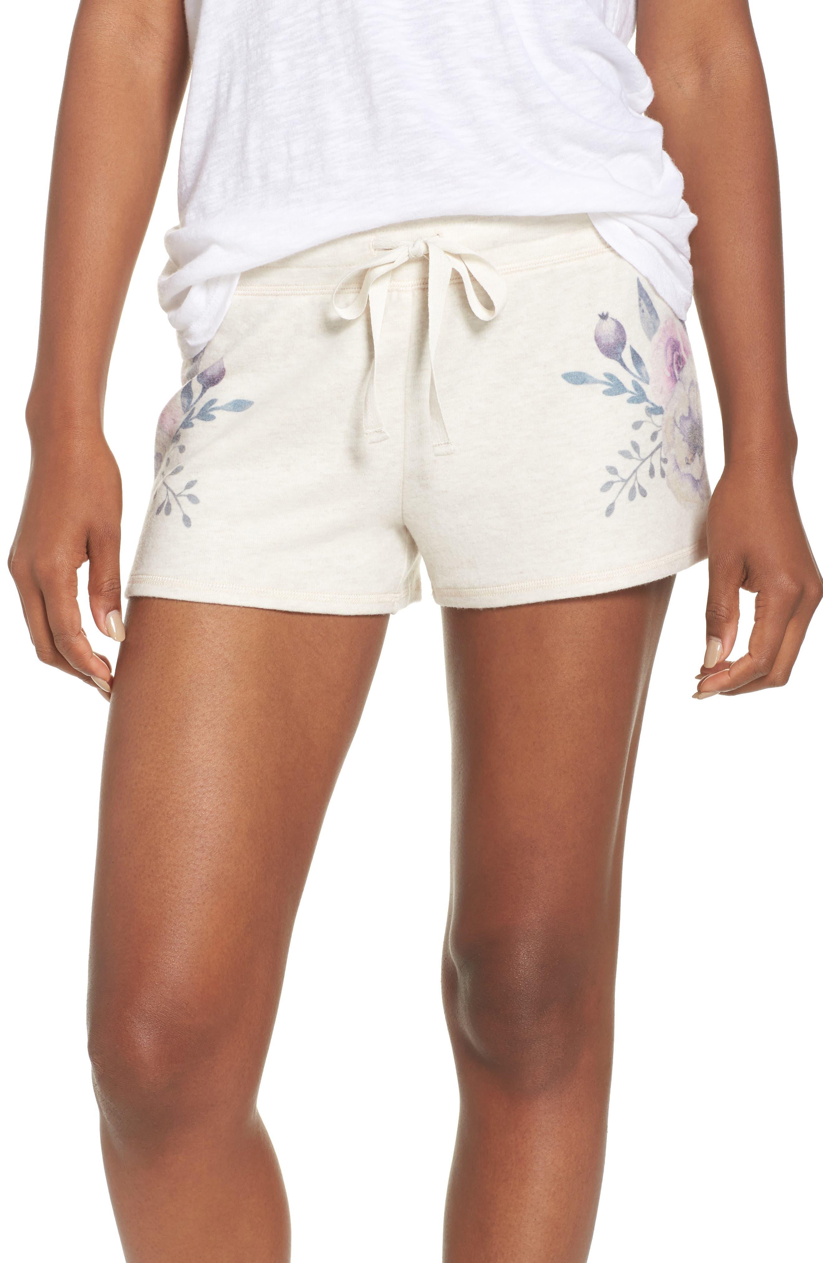 Peachy Floral Pajama Shorts,                             Main thumbnail 1, color,                             900