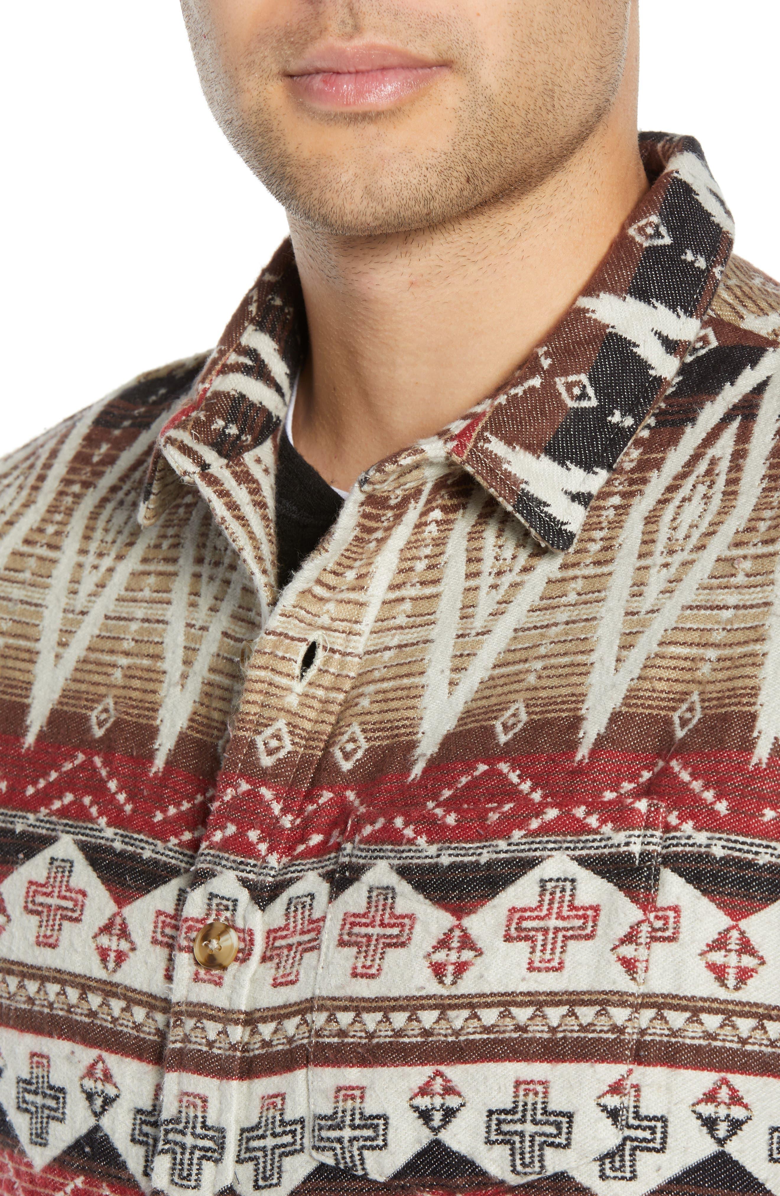Geo Blanket Shirt Jacket,                             Alternate thumbnail 4, color,                             BEIGE RAINY DAY TRIBAL PRINT