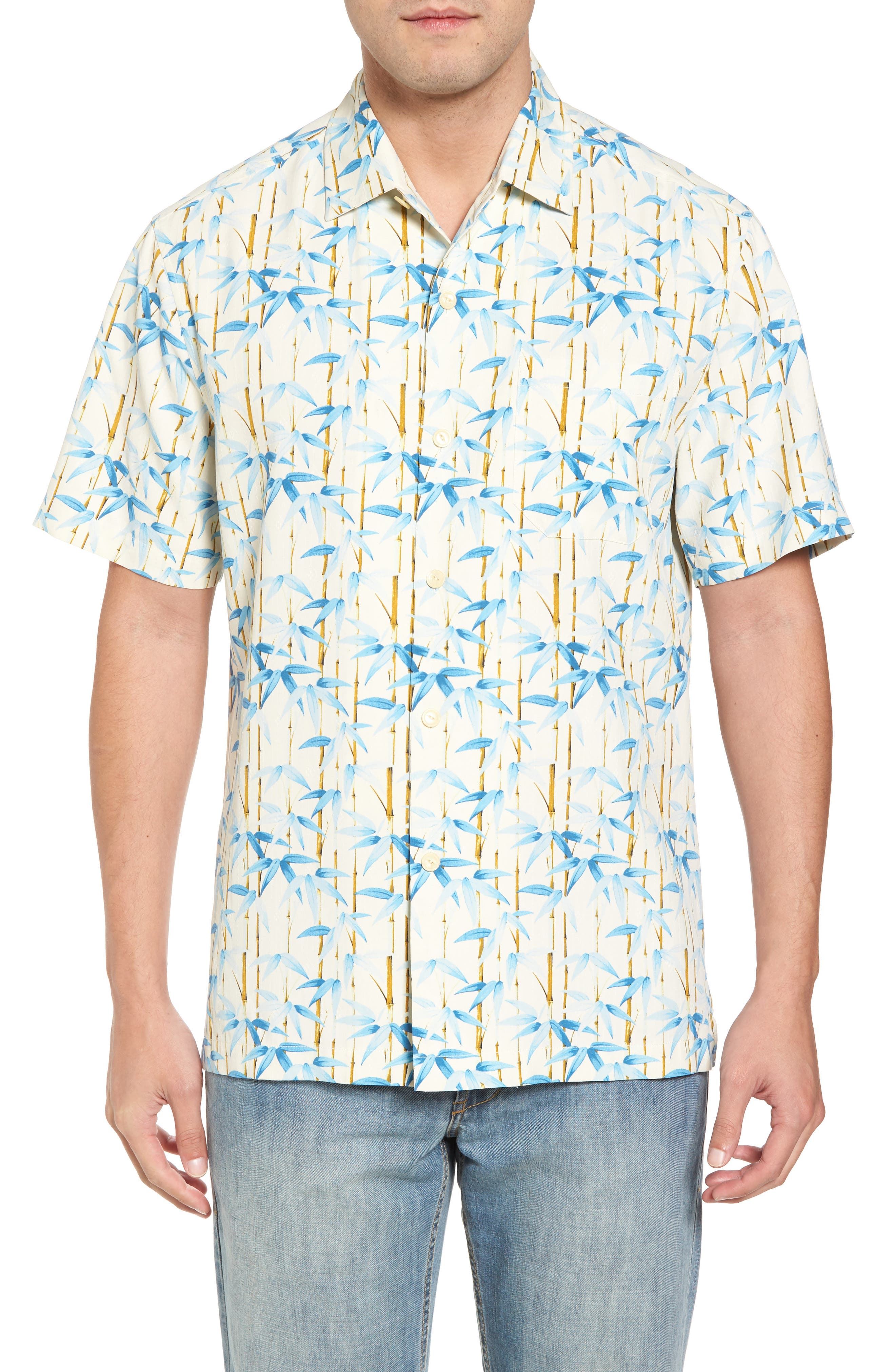 TOMMY BAHAMA Forest Print Silk Sport Shirt, Main, color, 100