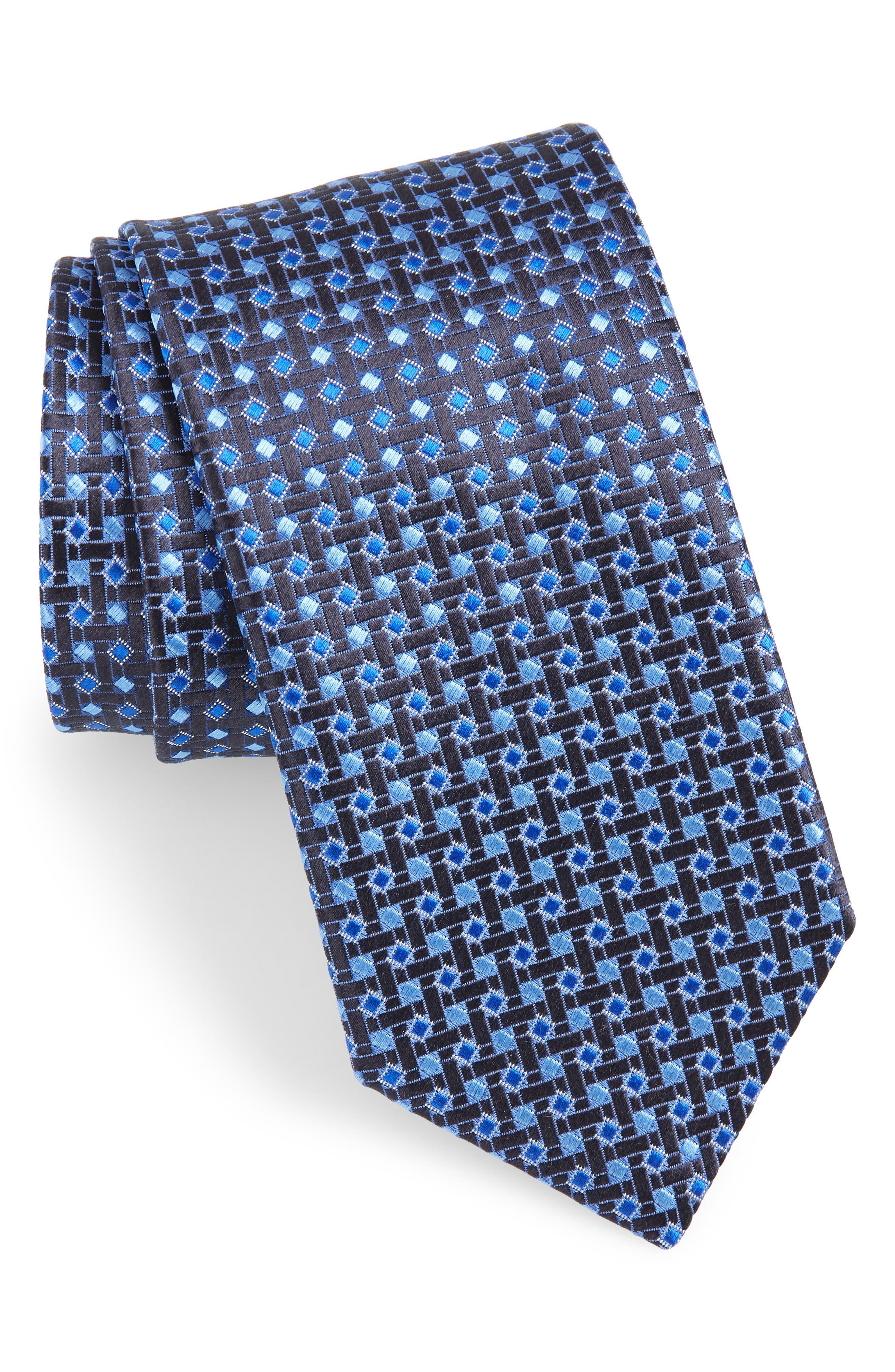 Geometric Silk Tie,                             Main thumbnail 1, color,                             NAVY