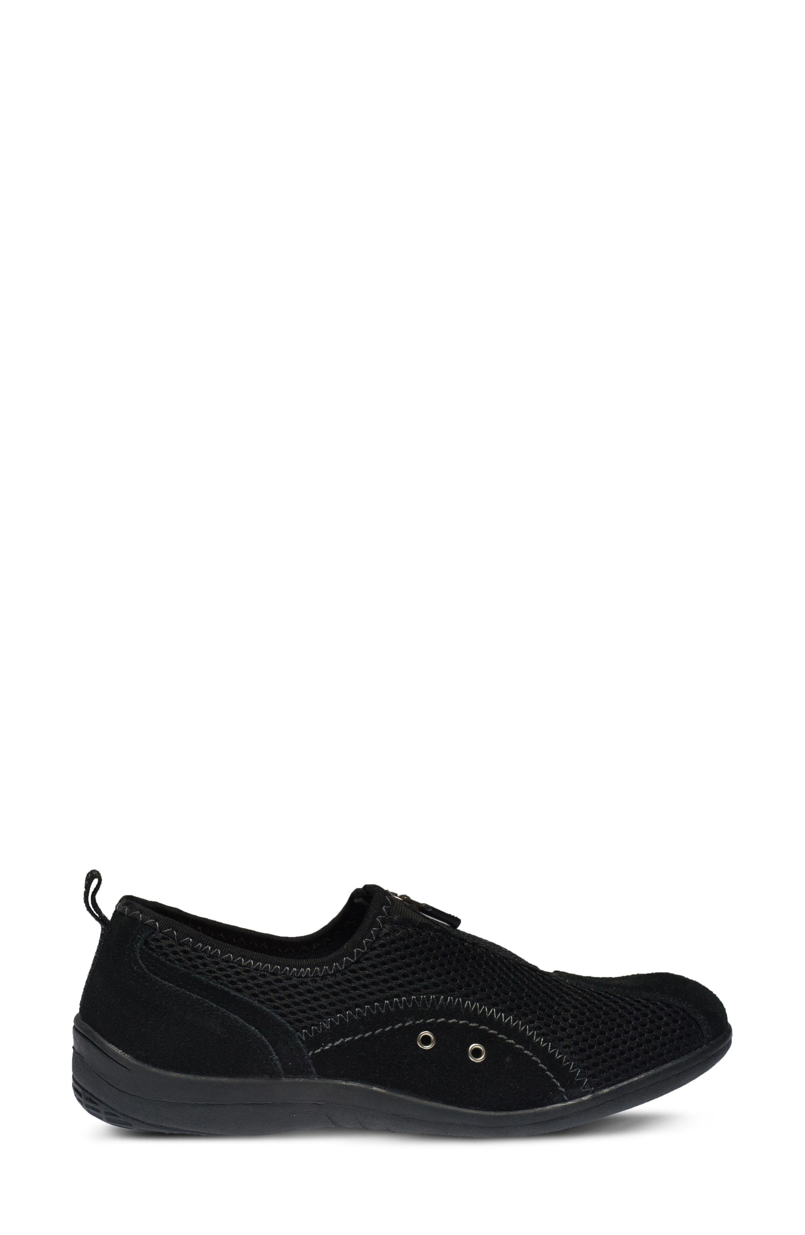 Racer Slip-On Sneaker,                             Alternate thumbnail 3, color,                             BLACK LEATHER