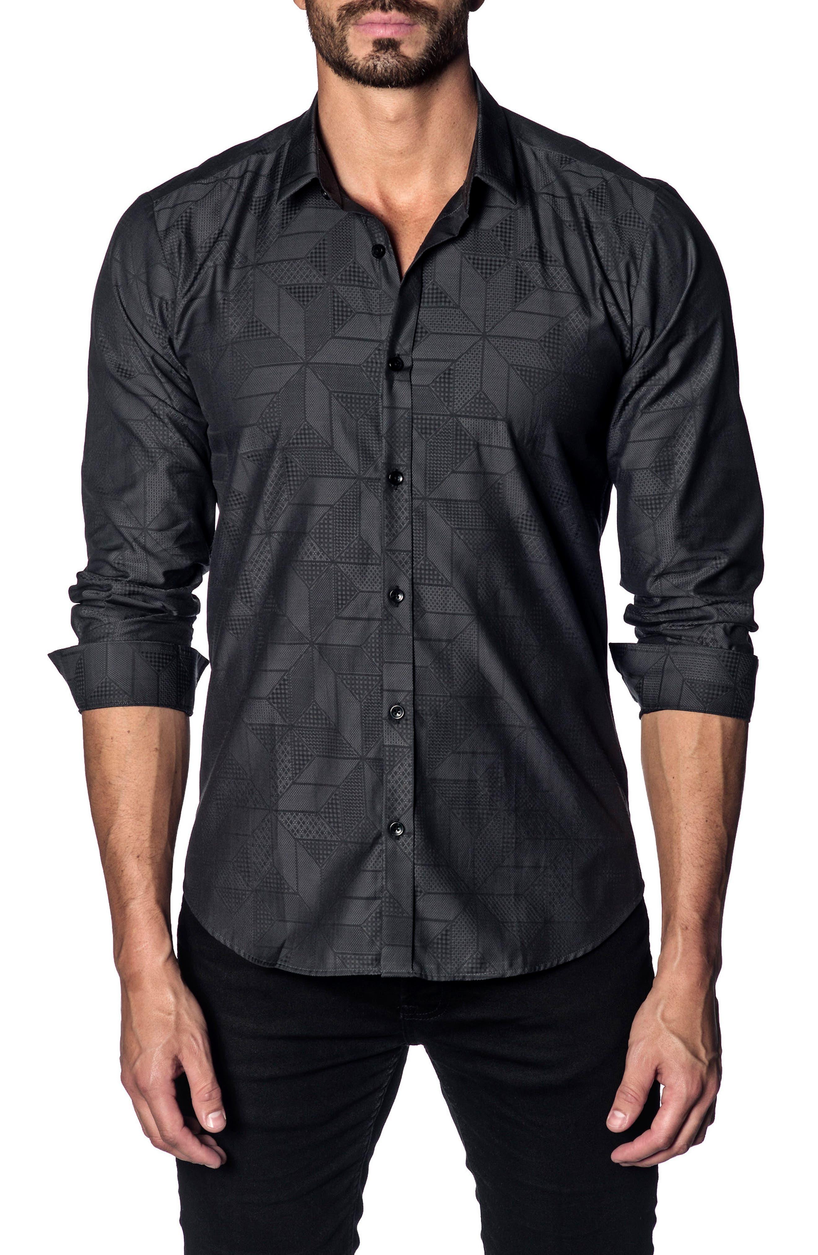 Trim Fit Sport Shirt,                         Main,                         color, BLACK GEOMETRIC