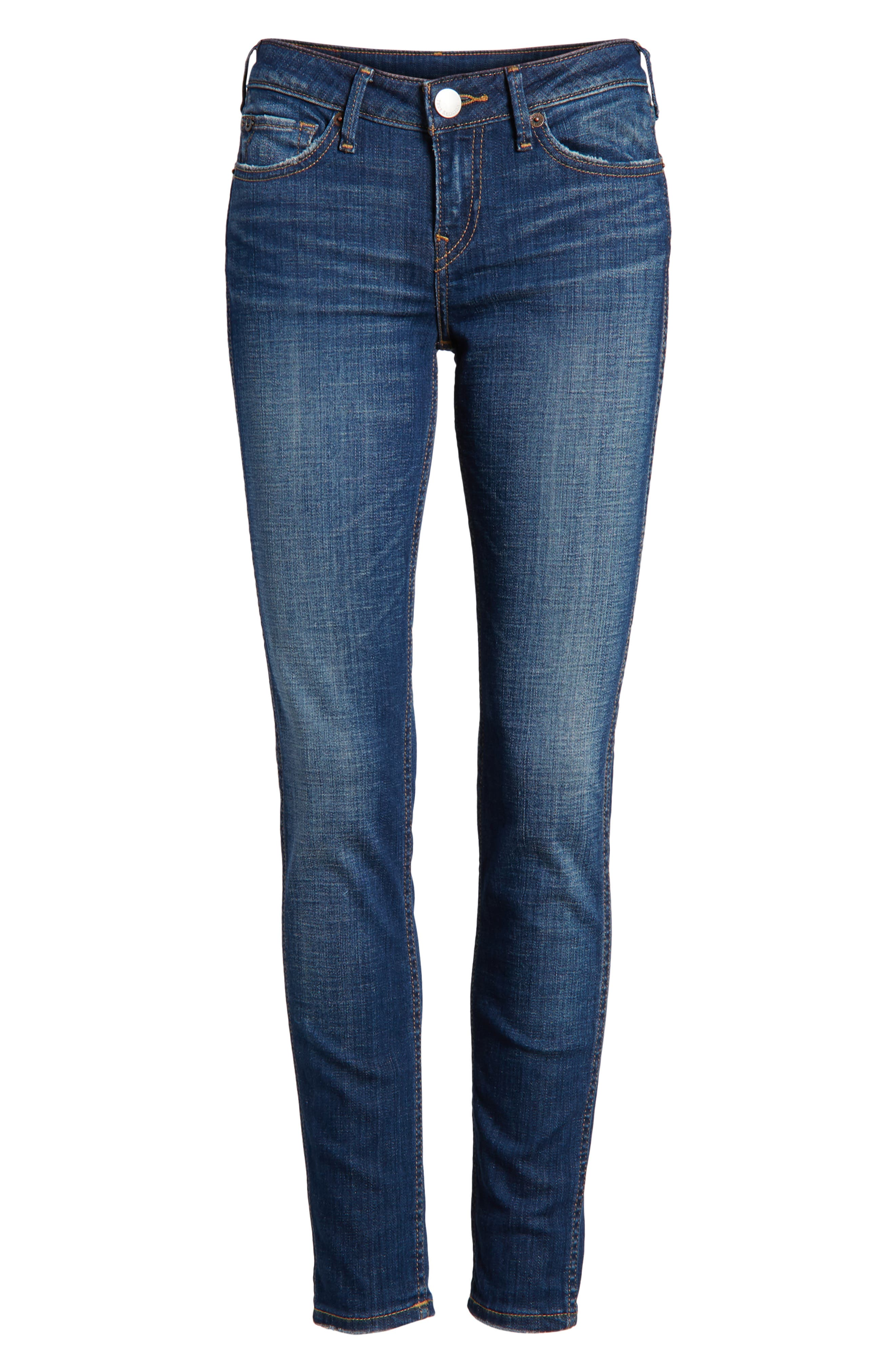 Halle Mid Rise Super Skinny Jeans,                             Alternate thumbnail 7, color,                             401