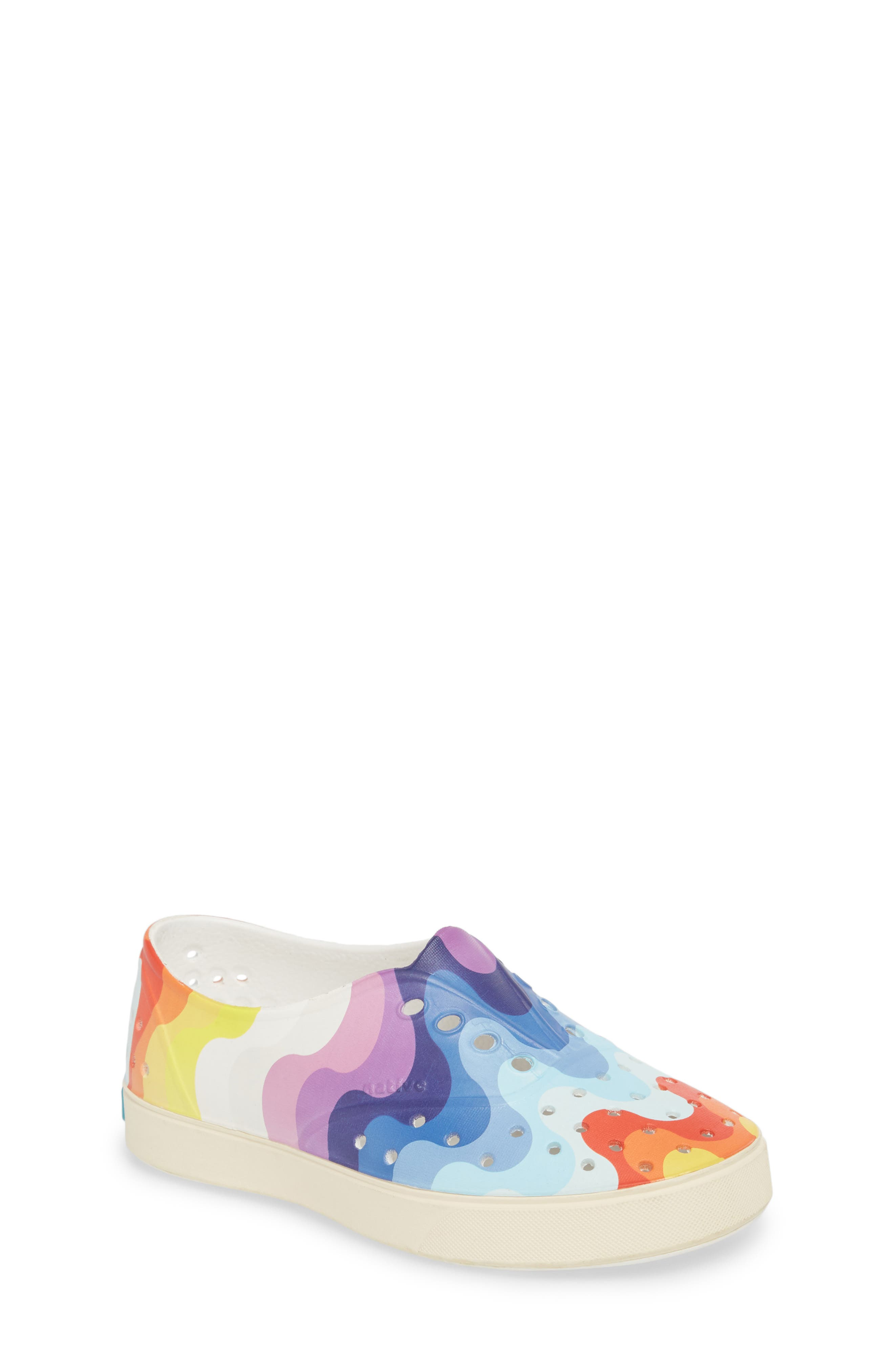 'Miller' Water Friendly Perforated Sneaker,                             Main thumbnail 1, color,                             SHELL WHITE/ RAINBOW WAVE