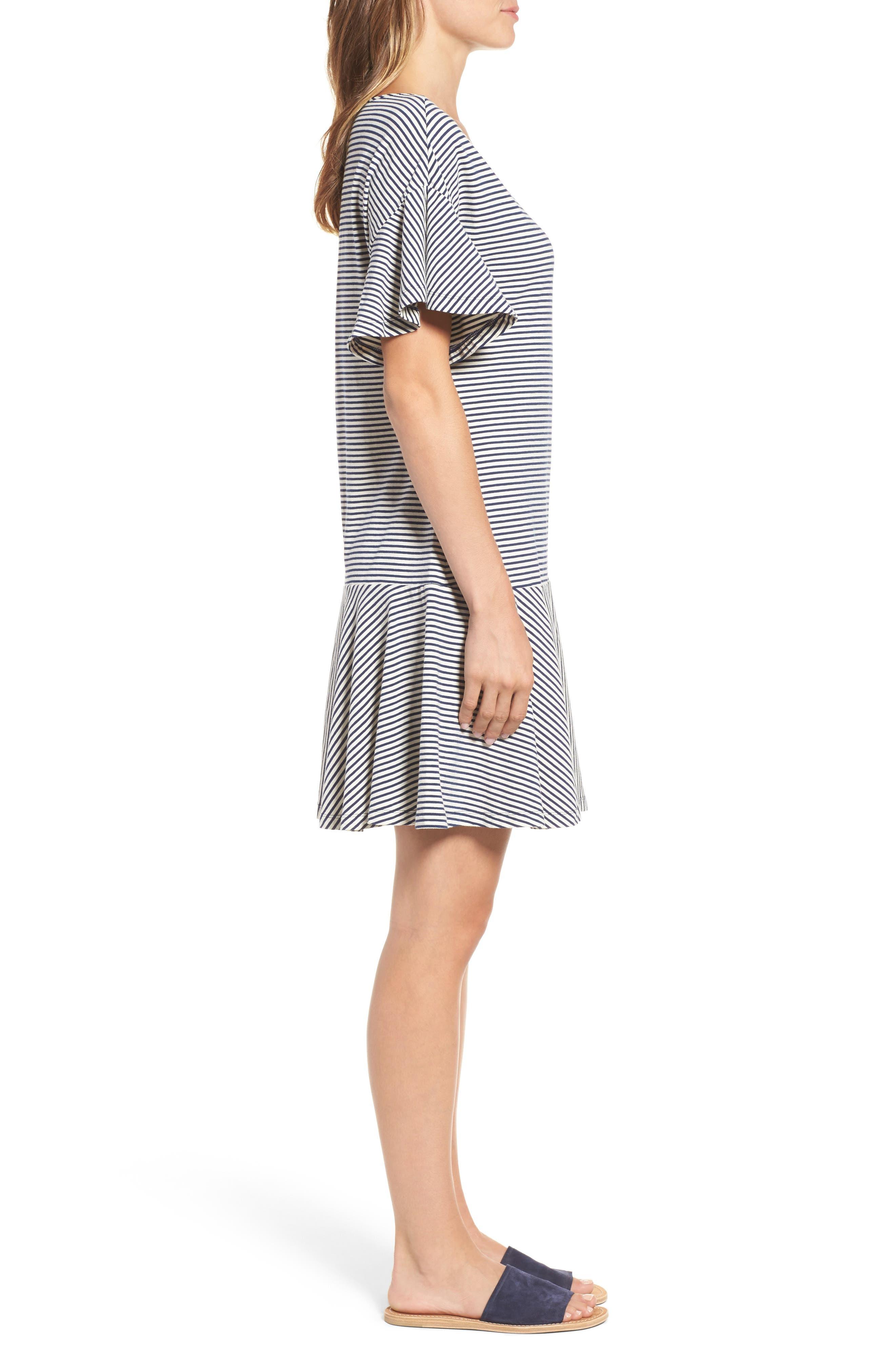 Stripe Flounce Dress,                             Alternate thumbnail 3, color,