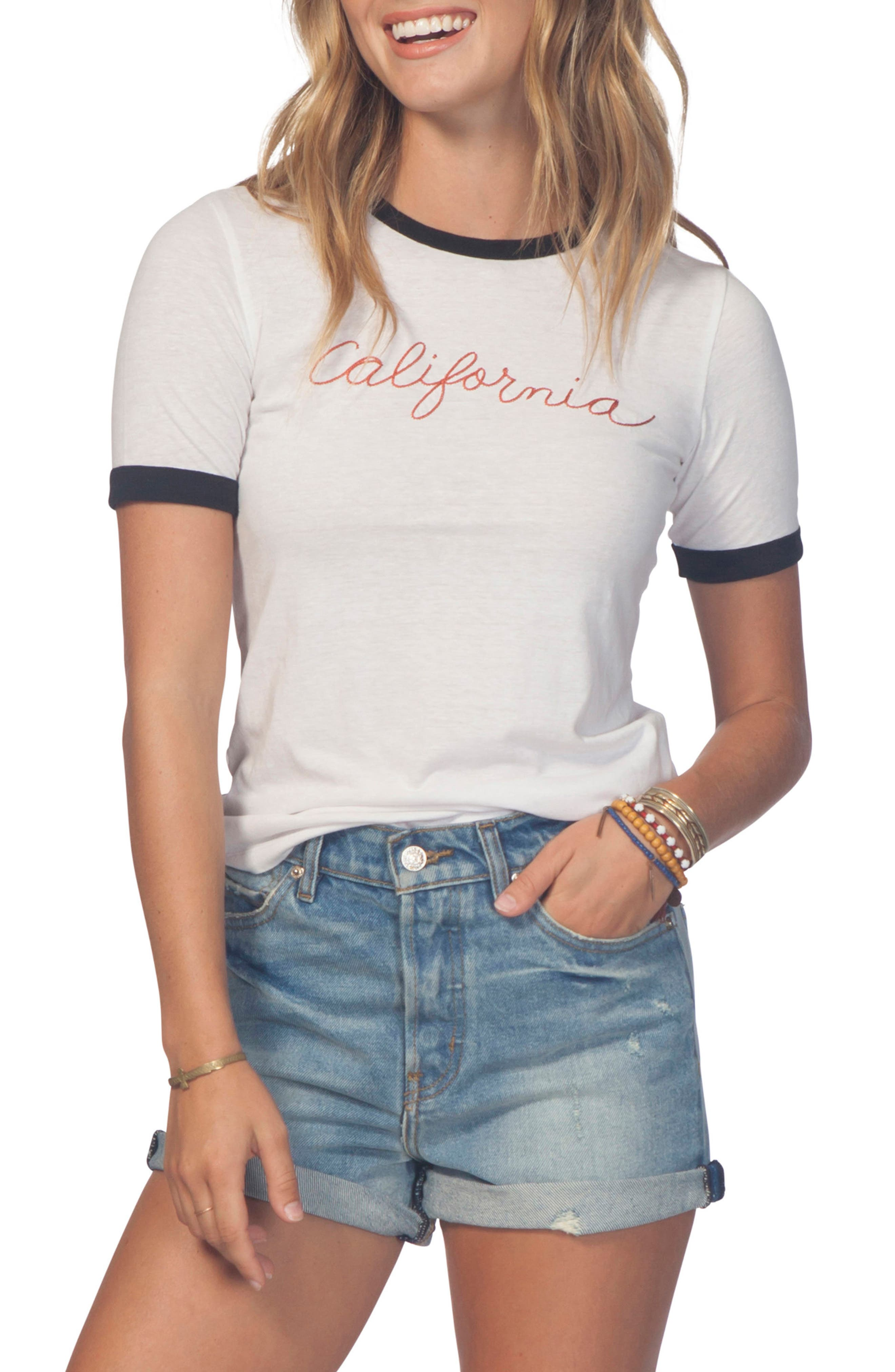 California Coast Ringer Tee,                             Main thumbnail 1, color,                             100