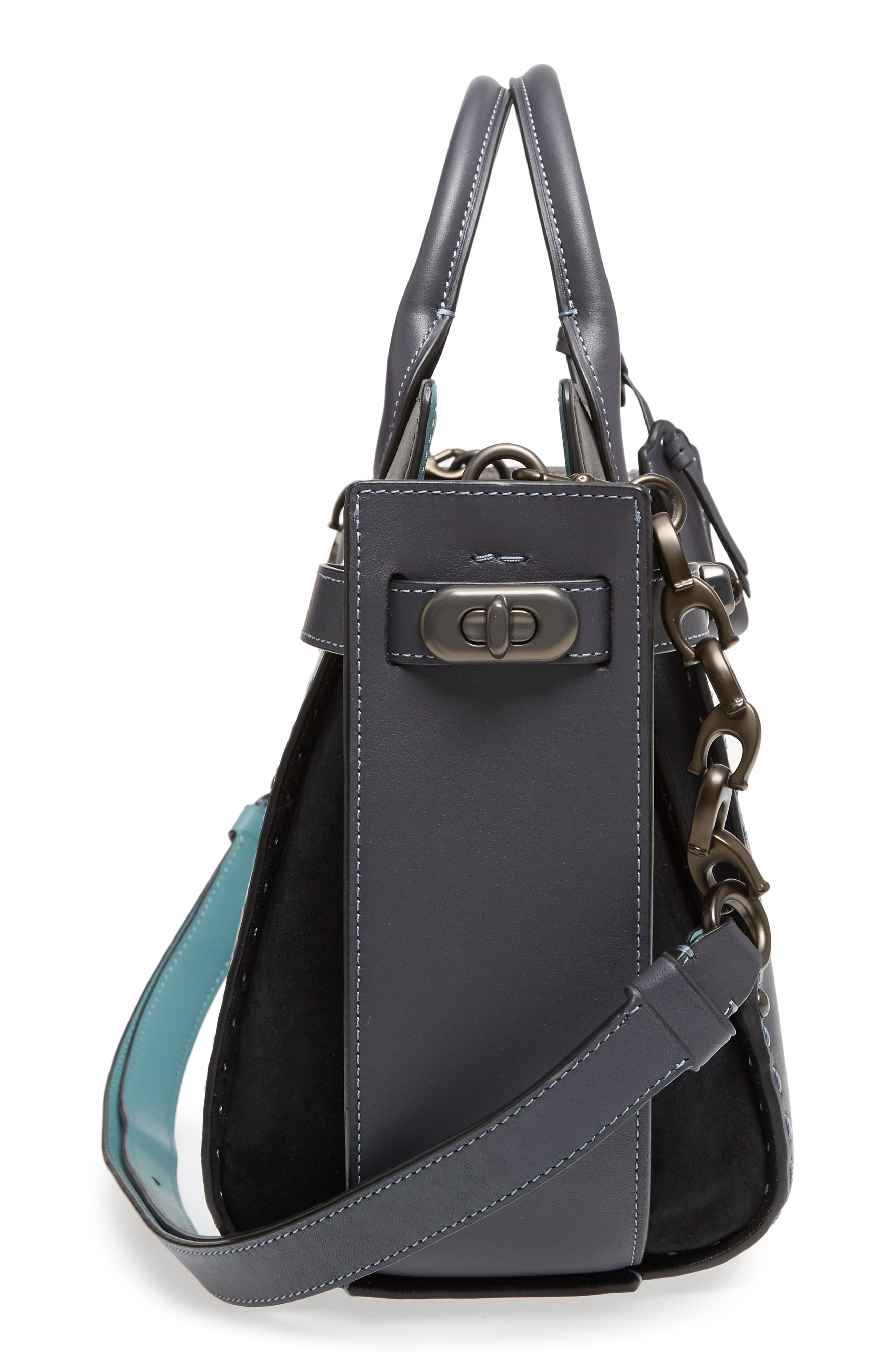 Double Swagger Leather Satchel,                             Alternate thumbnail 5, color,                             428