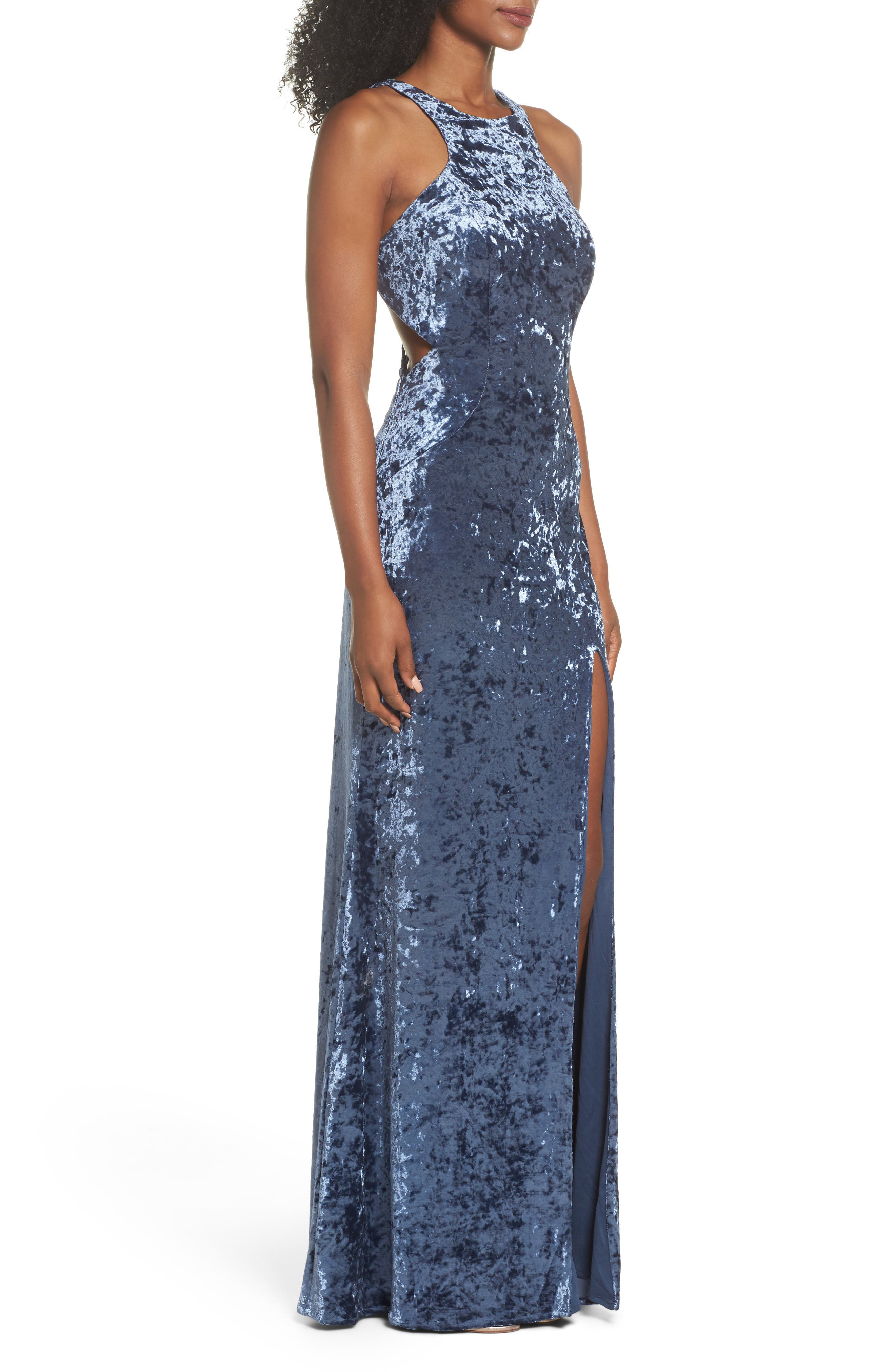 Strappy Crushed Velvet Gown,                             Alternate thumbnail 3, color,                             SLATE BLUE