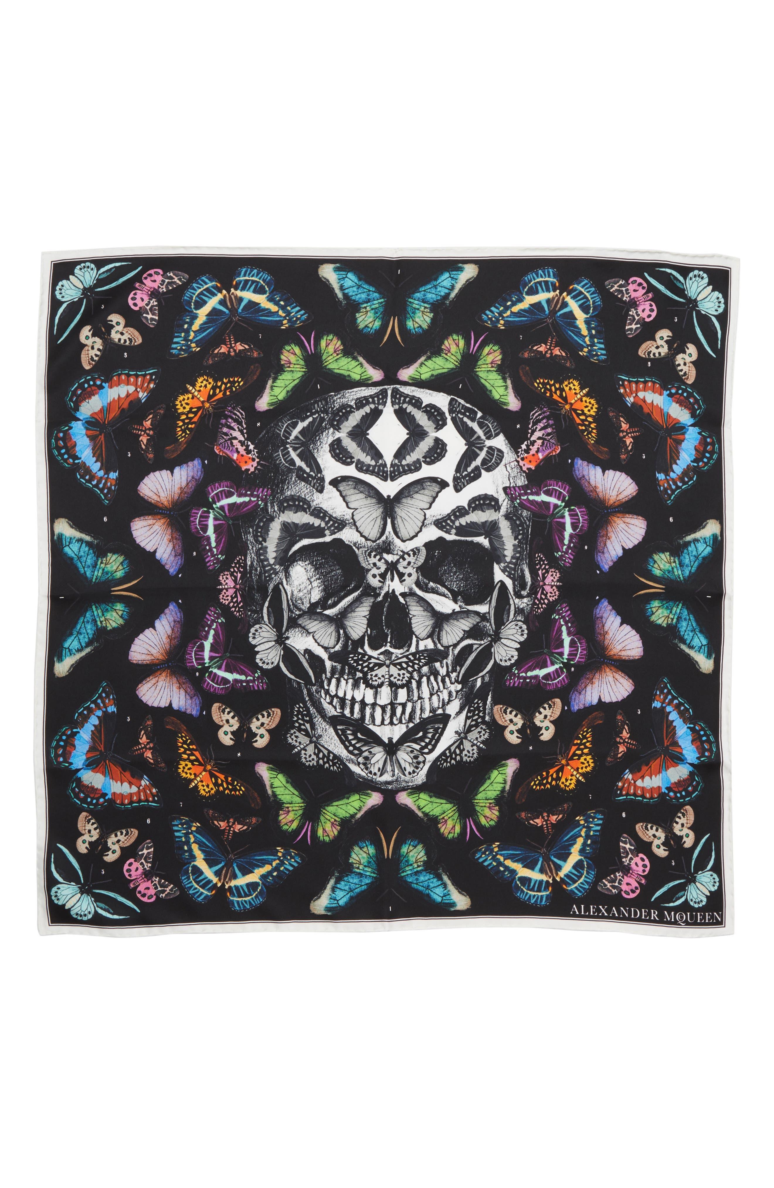 Skull & Rainbow Butterflies Print Silk Bandana,                         Main,                         color, BLACK/ IVORY
