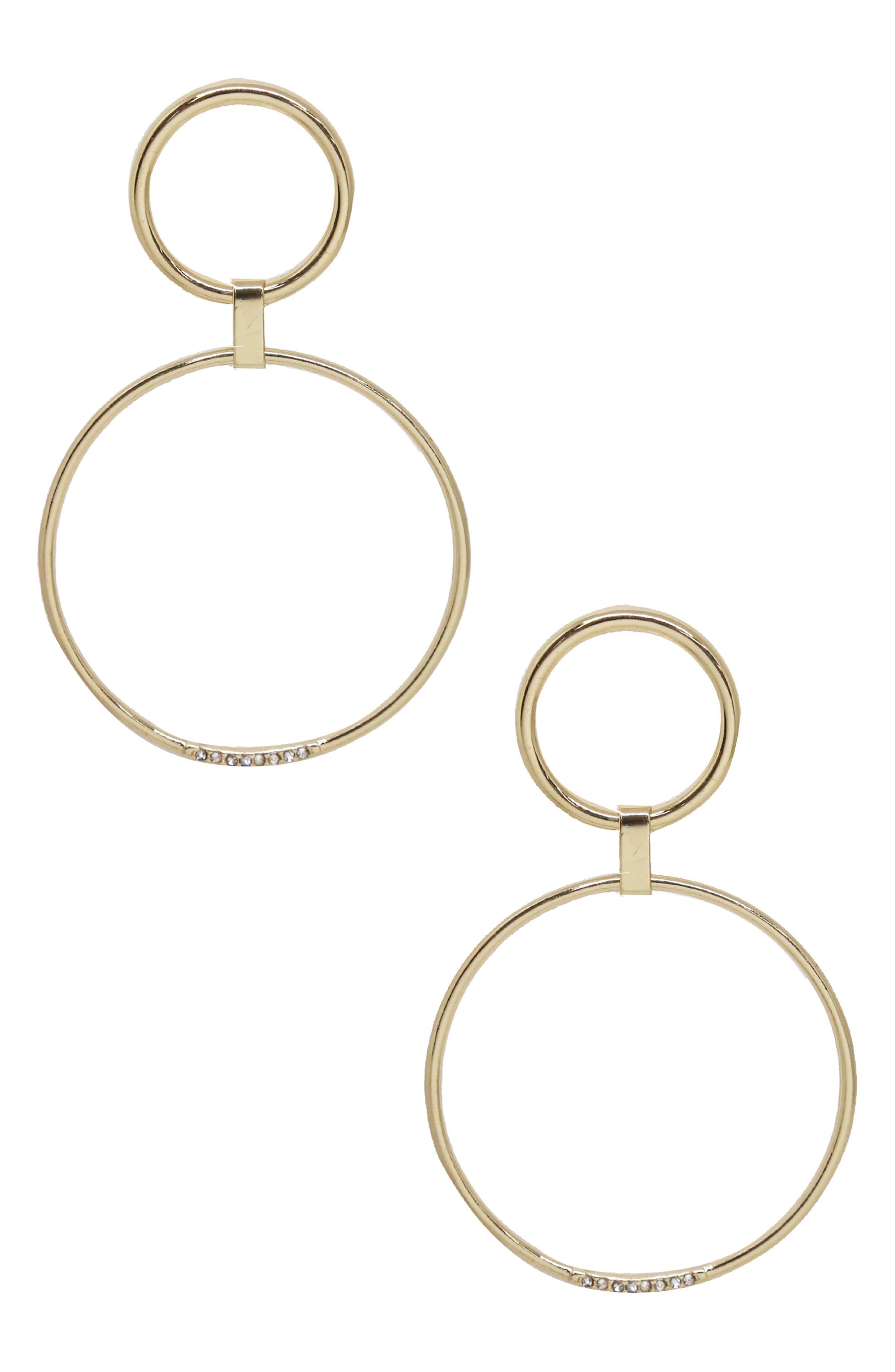Double Hoop Drop Earrings,                         Main,                         color, 710