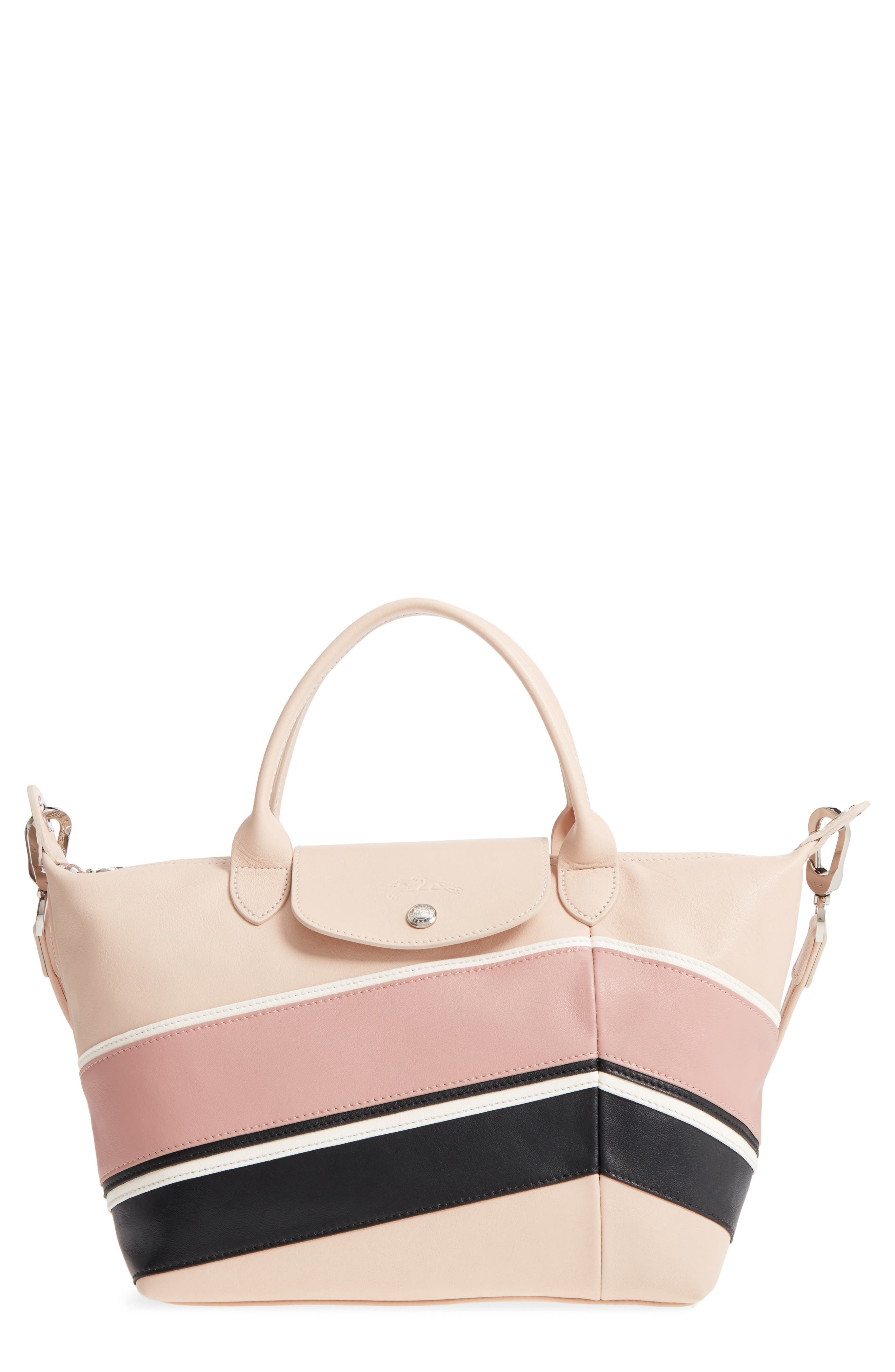 Small Le Pliage Cuir - Chevron Leather Top Handle Tote,                             Main thumbnail 1, color,                             650