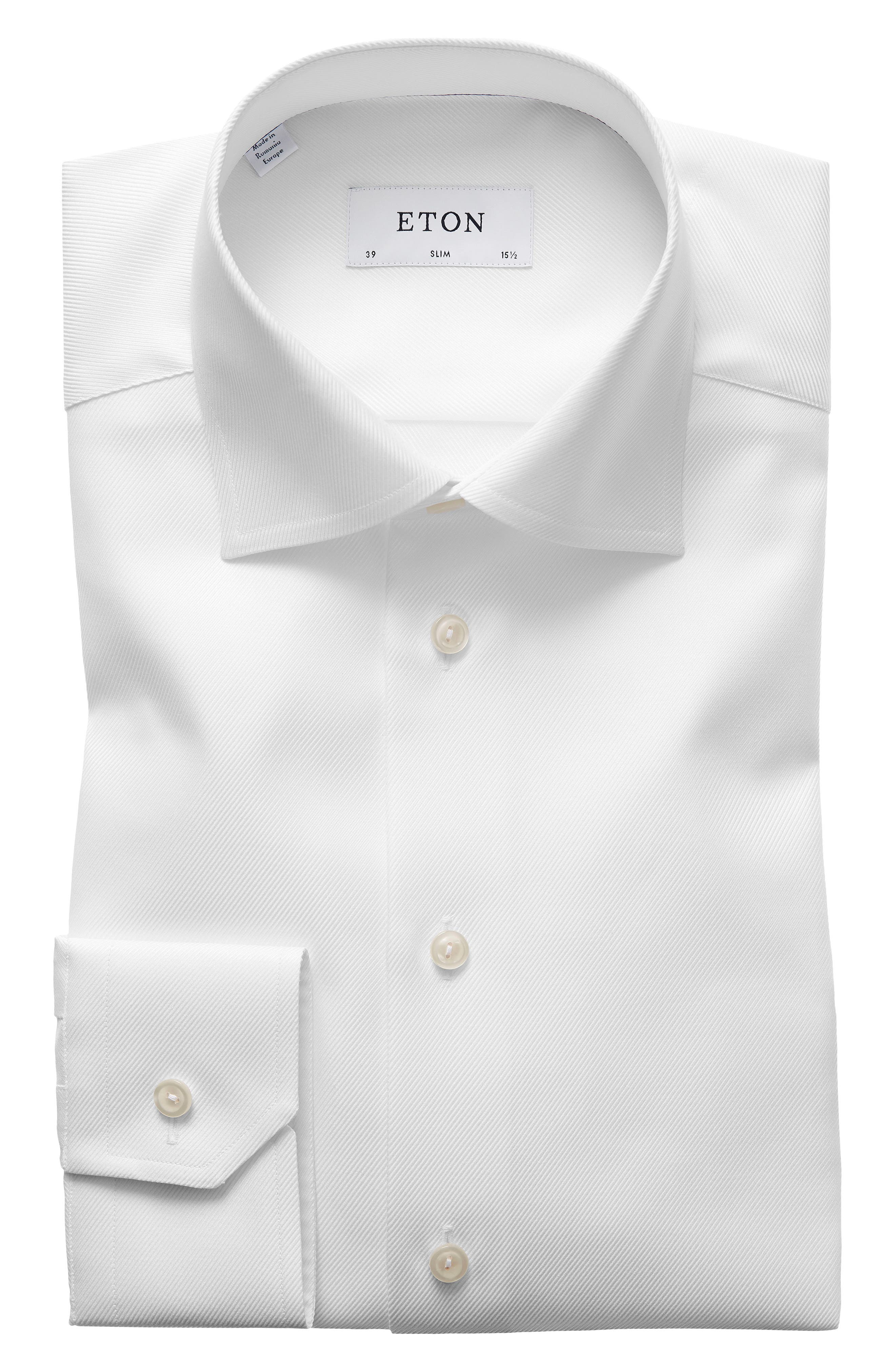 Slim Fit Cavalry Twill Dress Shirt,                             Main thumbnail 1, color,                             WHITE