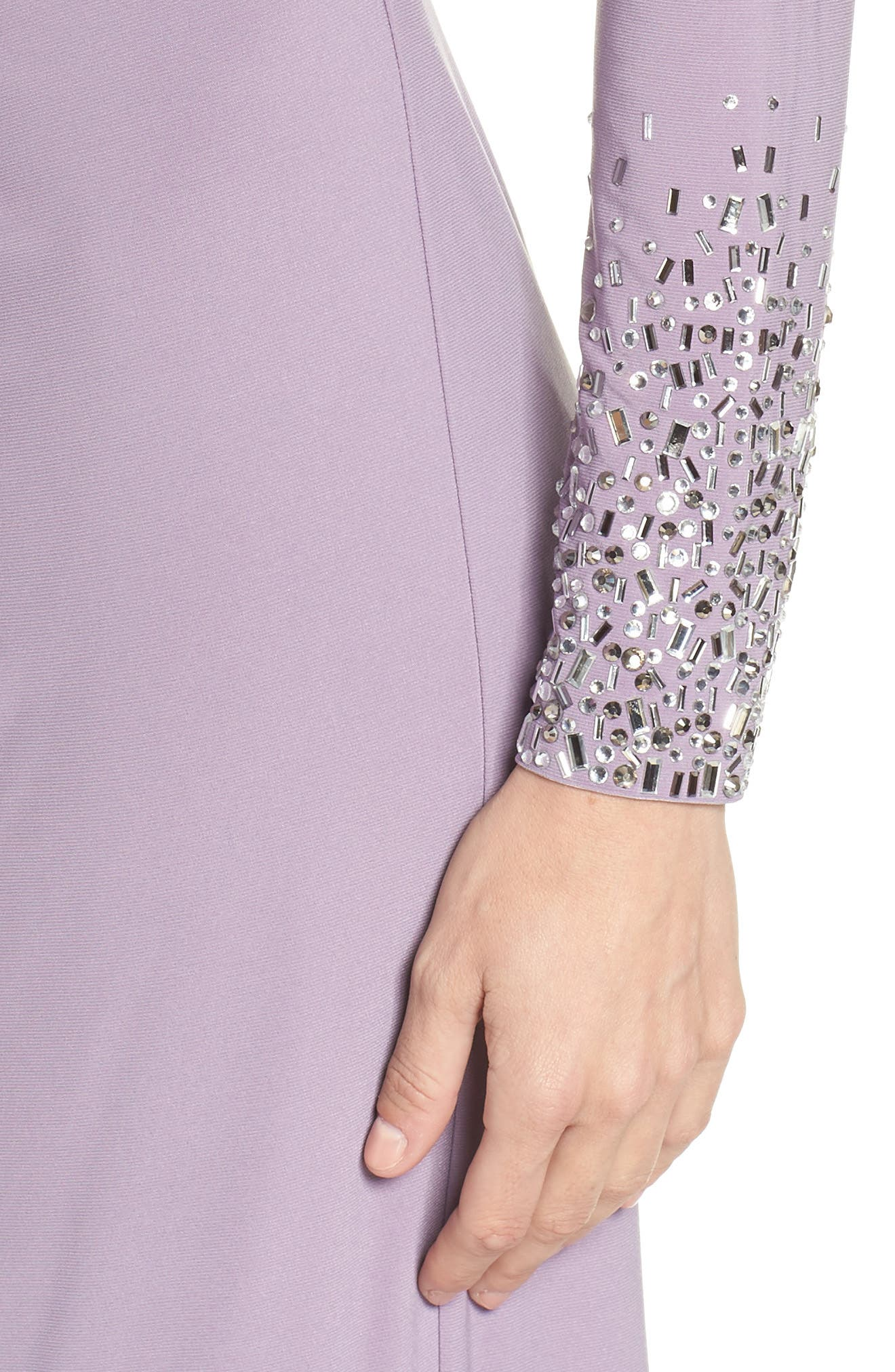 VINCE CAMUTO,                             Embellished Sleeve Ruched Evening Dress,                             Alternate thumbnail 4, color,                             LILAC
