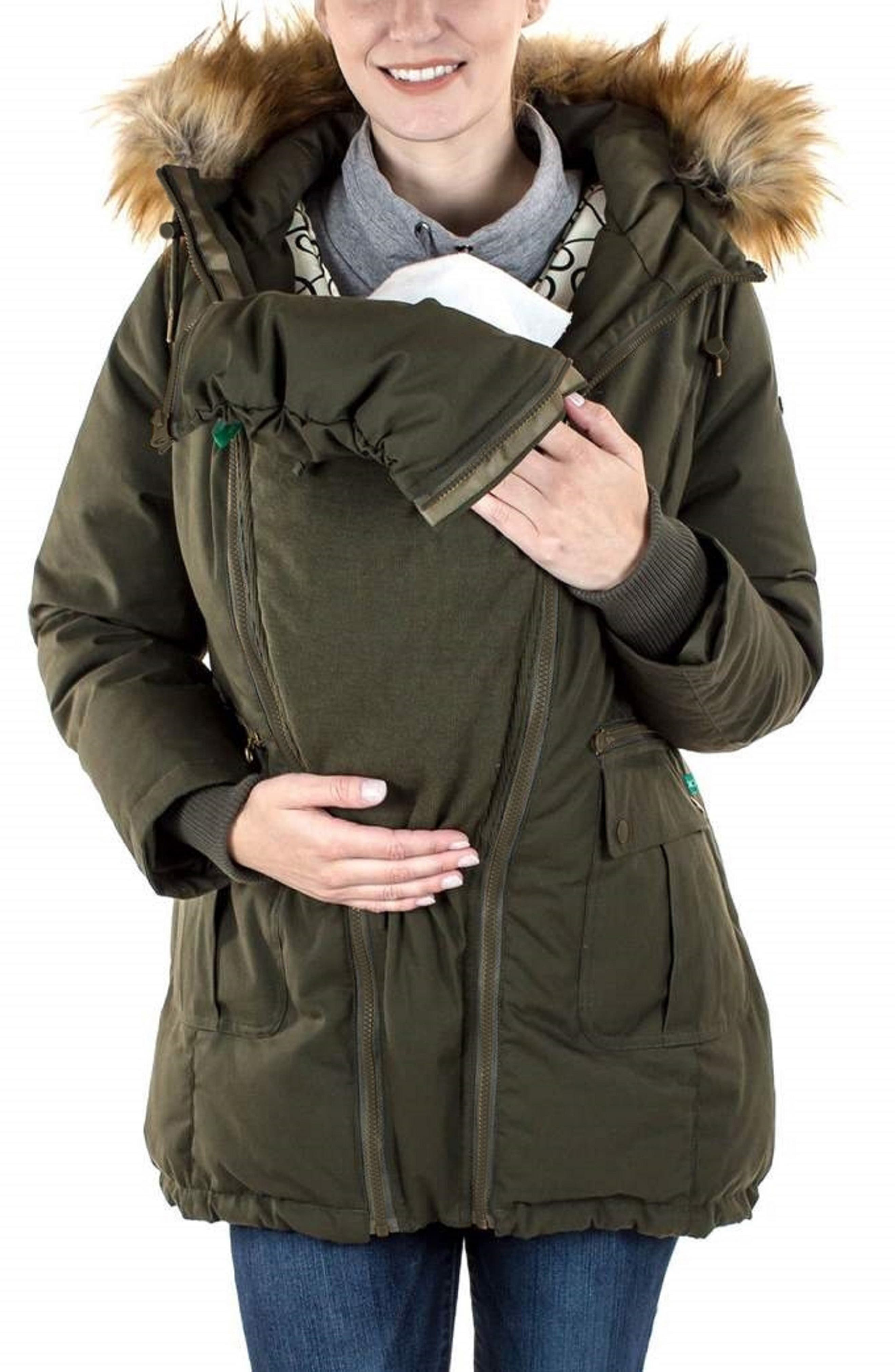 Convertible Down 3-in-1 Maternity Jacket,                             Alternate thumbnail 2, color,                             KHAKI GREEN