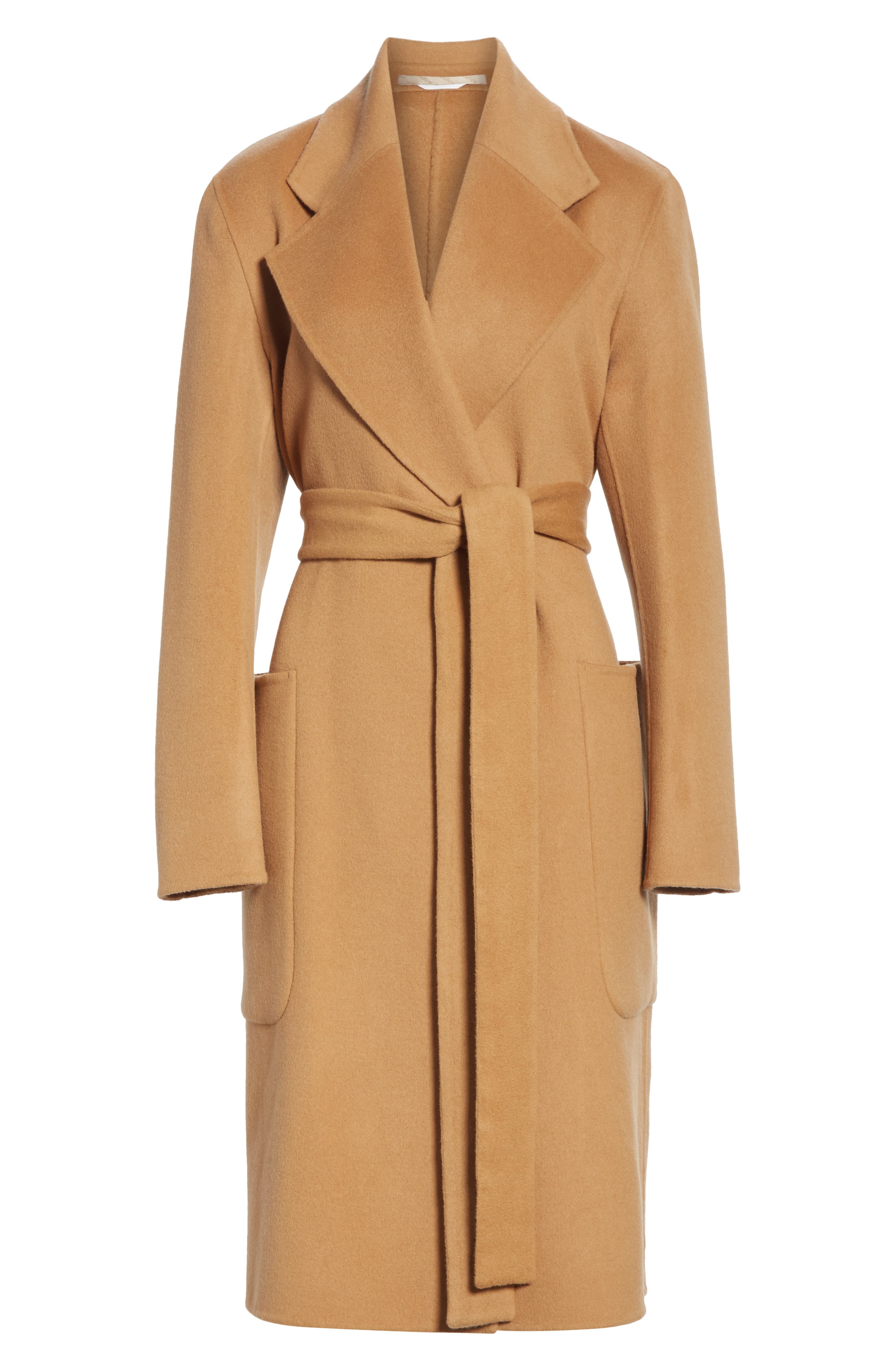 Belted Double Wool & Cashmere Coat,                             Alternate thumbnail 5, color,                             CAMEL BROWN
