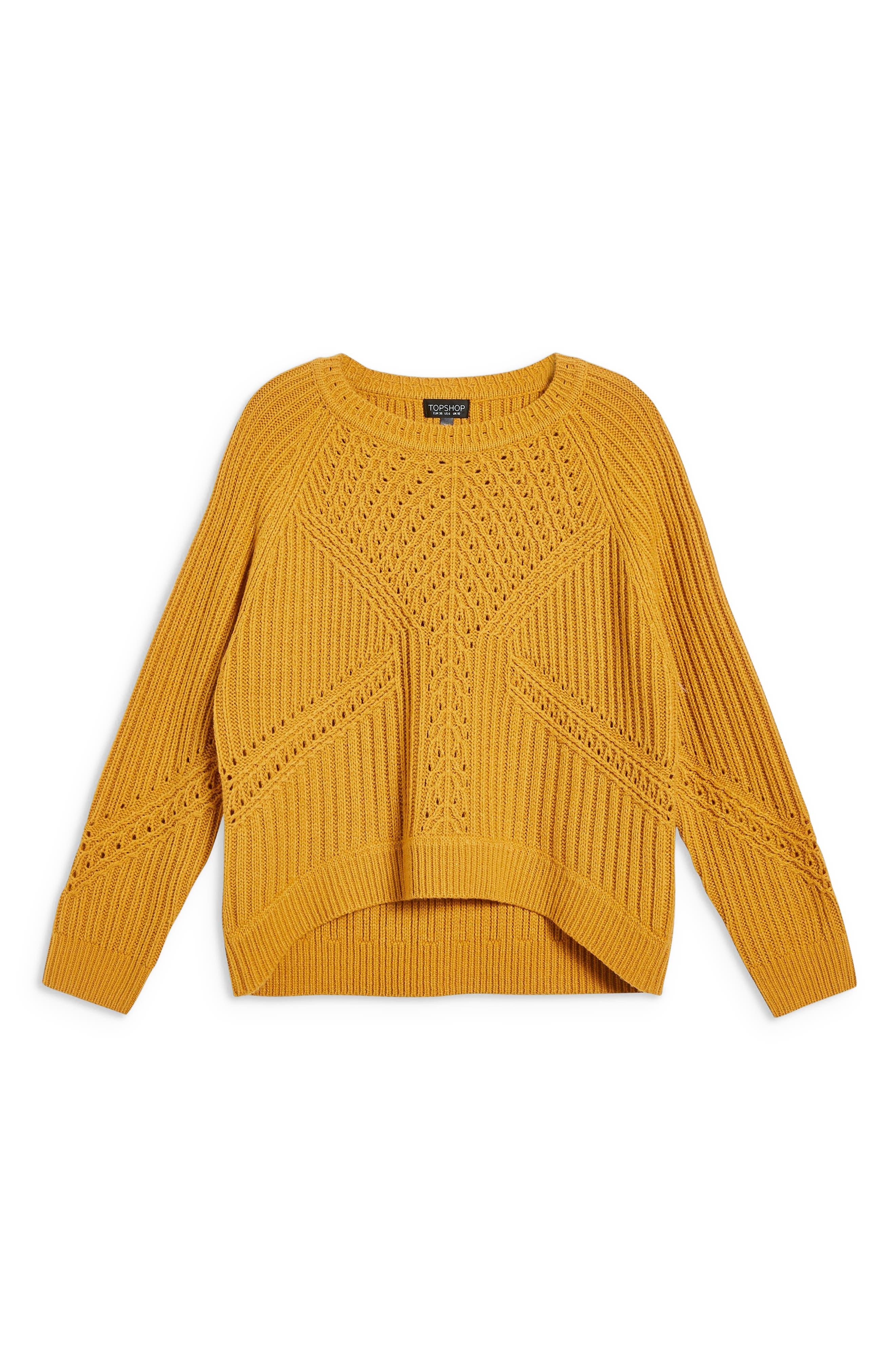 Rib & Pointelle Stitch Sweater,                             Alternate thumbnail 3, color,                             MUSTARD