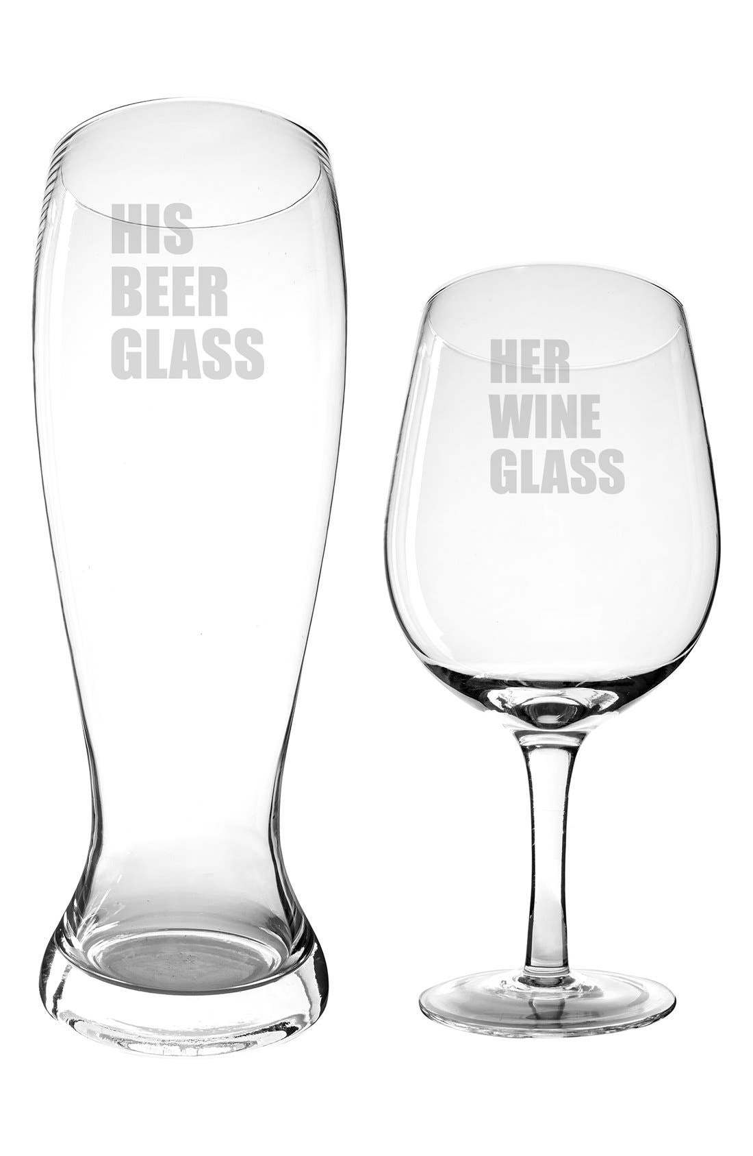 Cathy's Concept 'His & Hers' XL Beer & Wine Glass Set,                             Alternate thumbnail 2, color,                             100