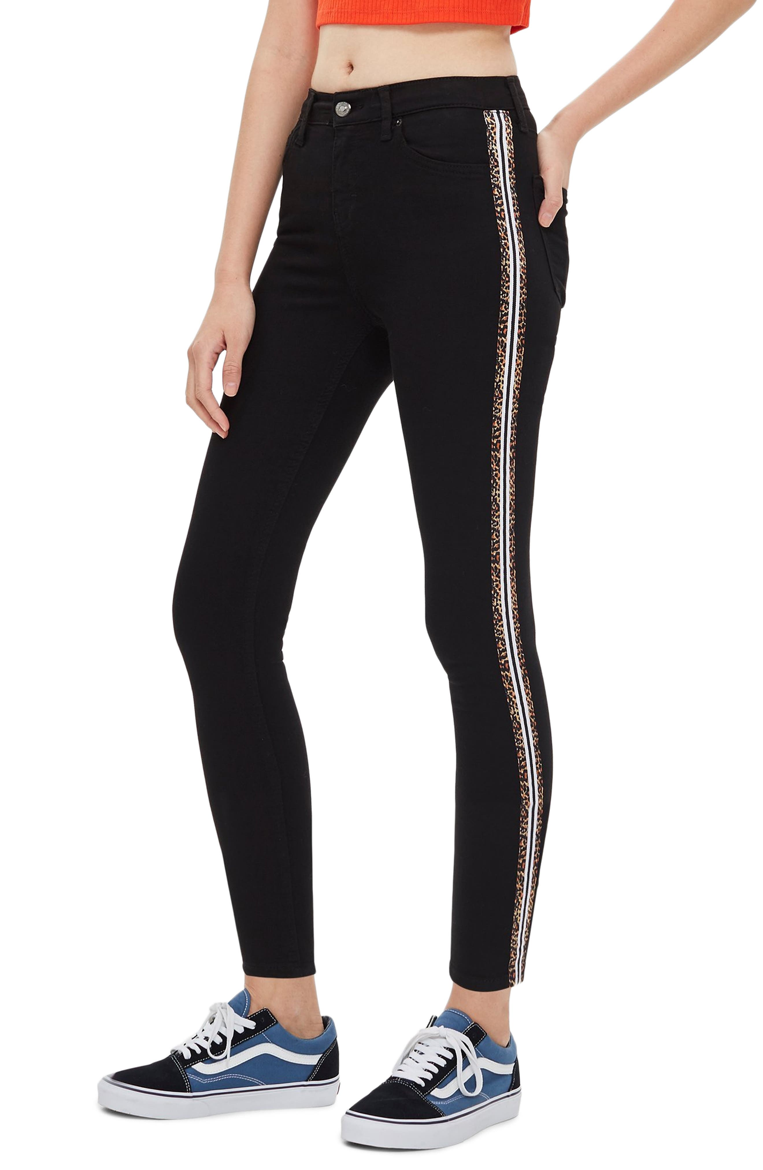 Leopard Stripe Jeans,                         Main,                         color, WASHED BLACK