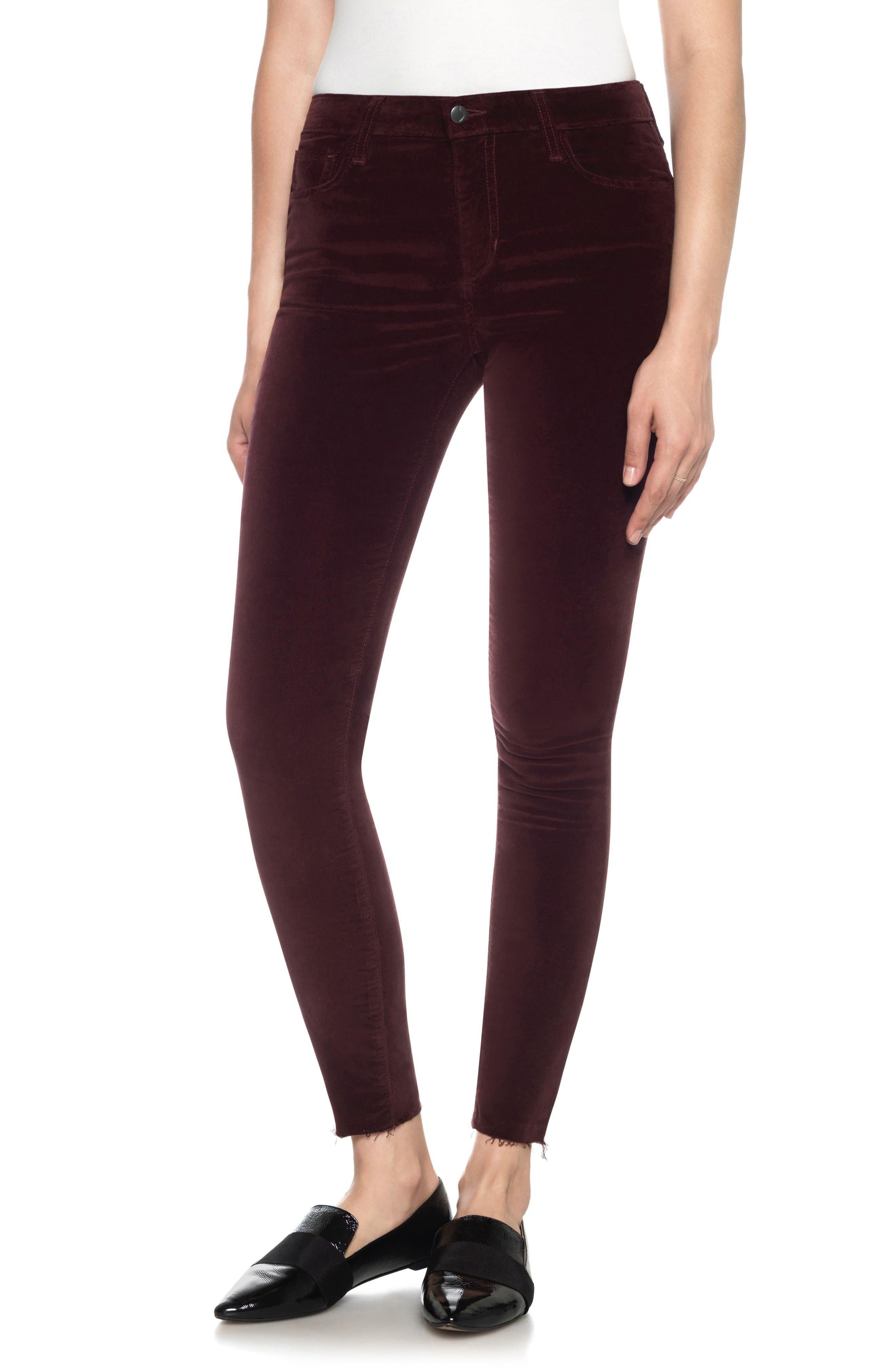 Icon Velvet Ankle Skinny Pants,                             Main thumbnail 2, color,