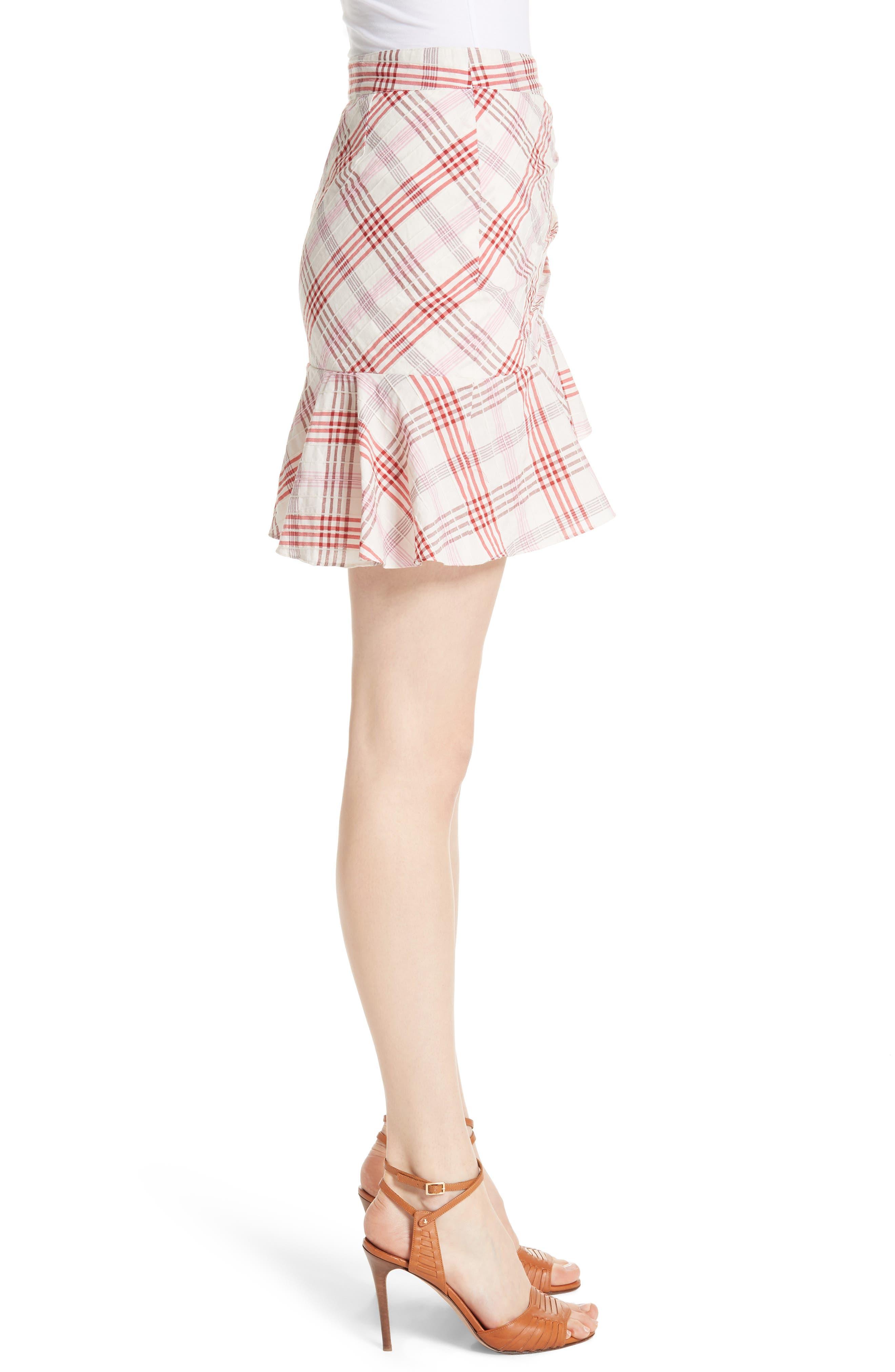 Kaia Check Ruffle Skirt,                             Alternate thumbnail 6, color,