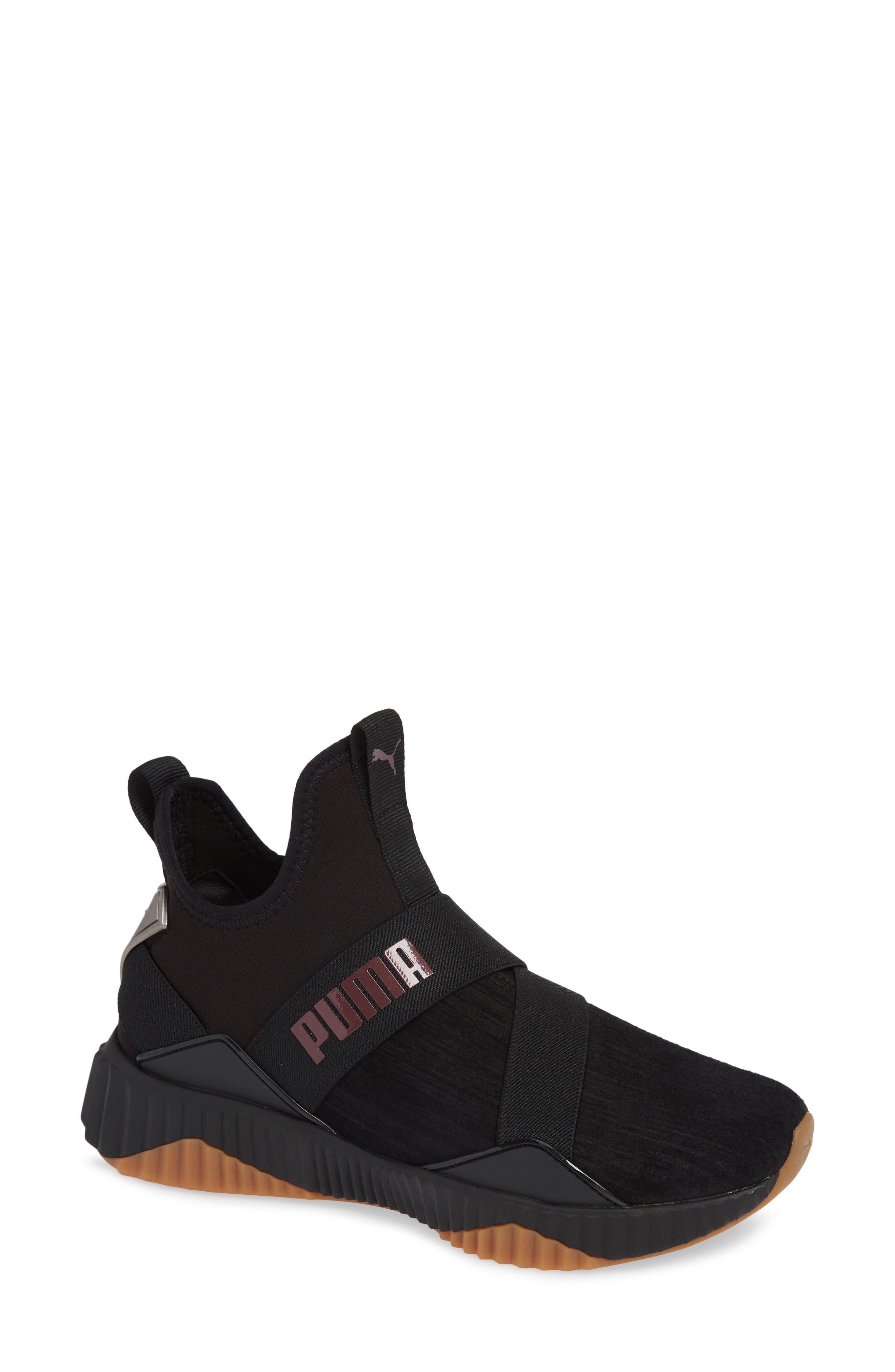 Defy Mid Luxe Sneaker,                         Main,                         color, PUMA BLACK/ FIG